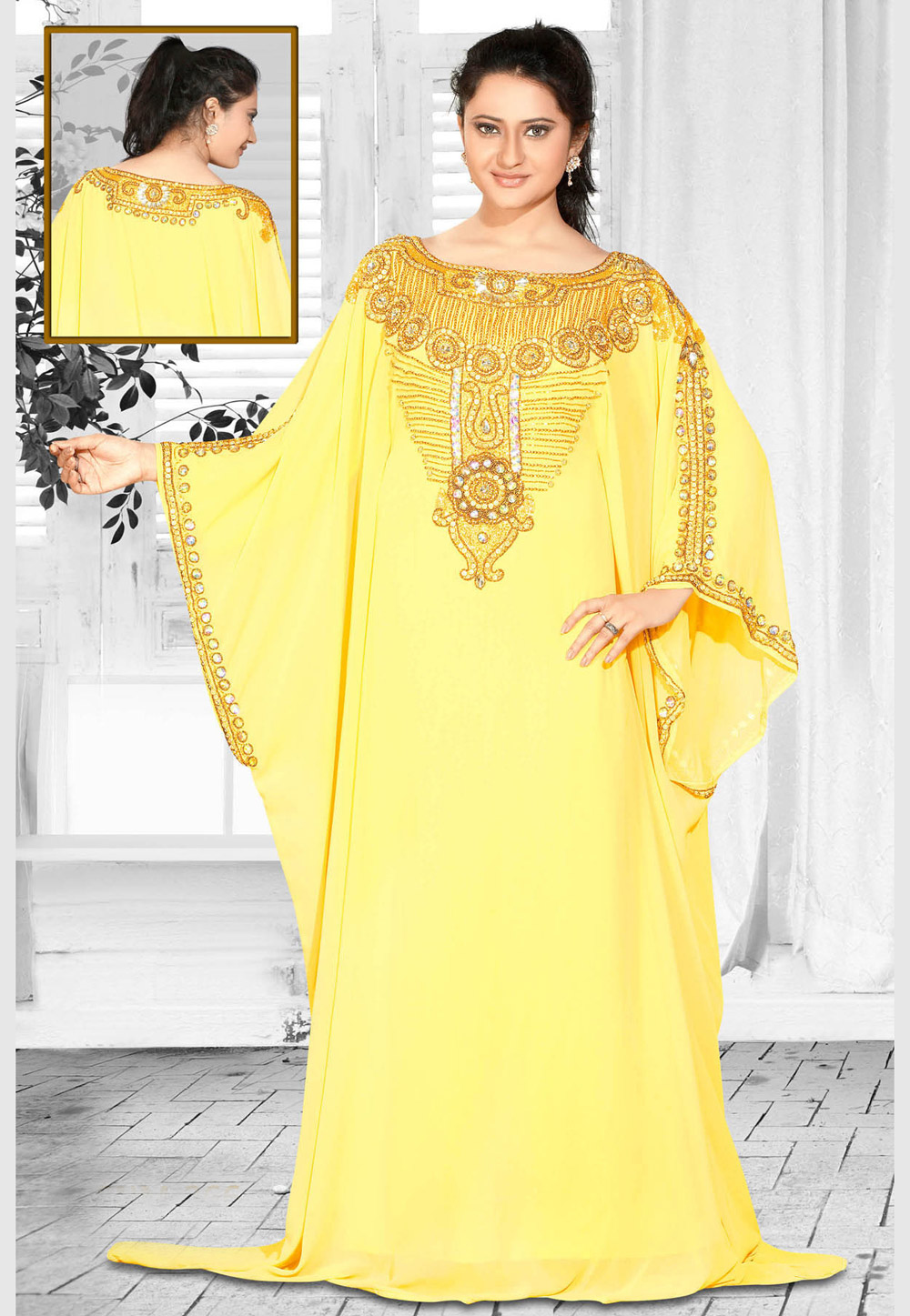Yellow Faux Georgette Embroidered Readymade Farasha 194606