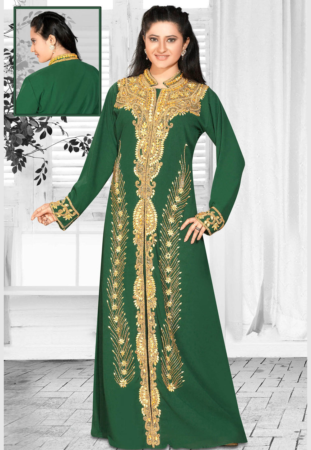 Green Faux Georgette Embroidered Readymade Kaftan 194607