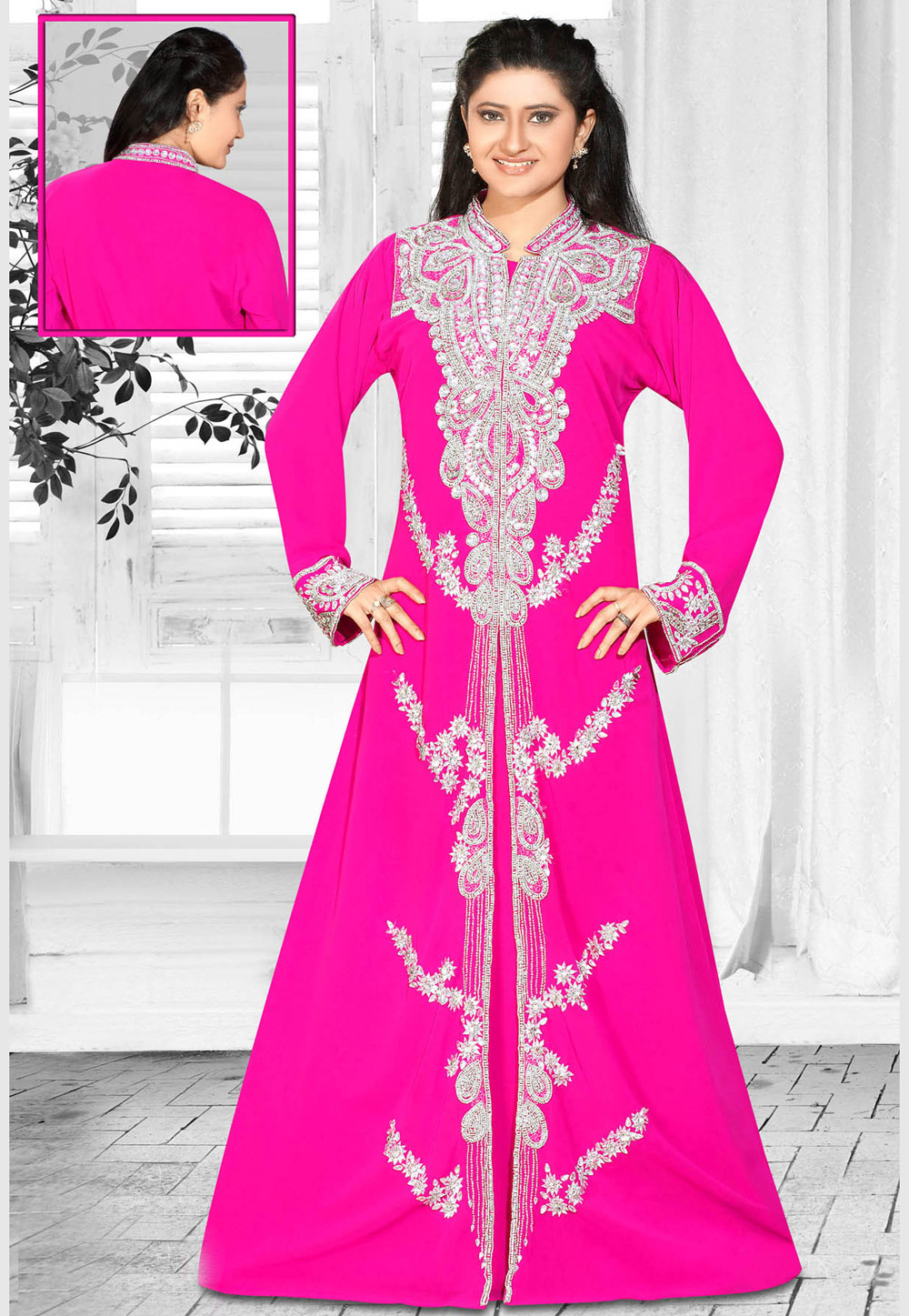 Pink Faux Georgette Embroidered Readymade Kaftan 194609