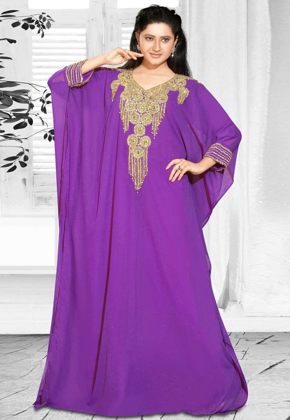Purple Faux Georgette Embroidered Readymade Farasha 194610