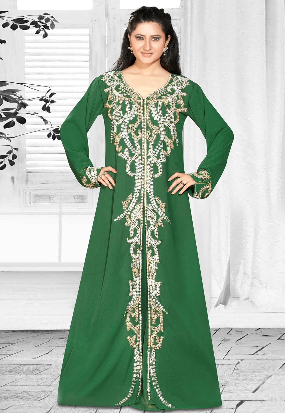 Green Faux Georgette Embroidered Readymade Kaftan 194611