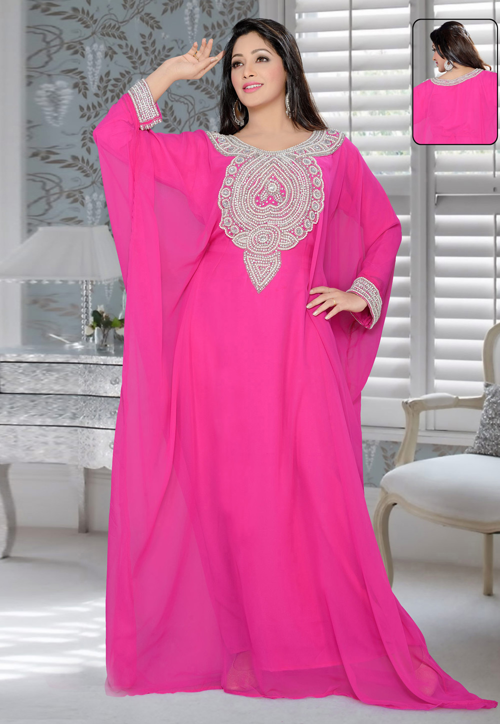 Pink Faux Georgette Embroidered Readymade Farasha 194612