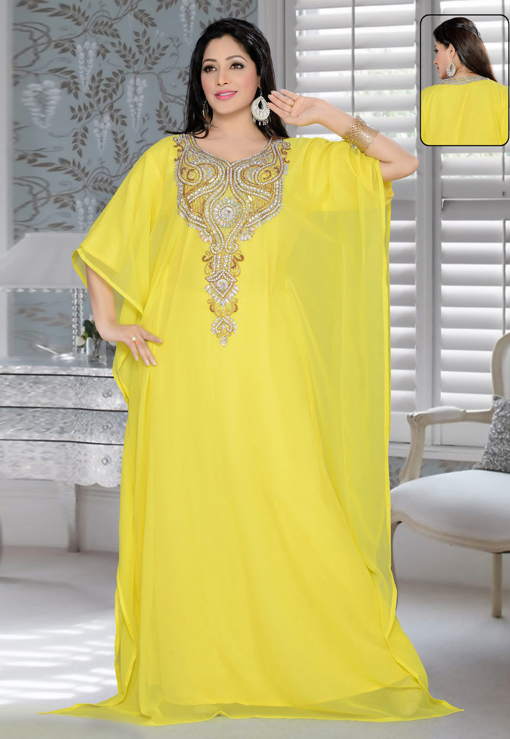 Yellow Faux Georgette Embroidered Readymade Farasha 194613