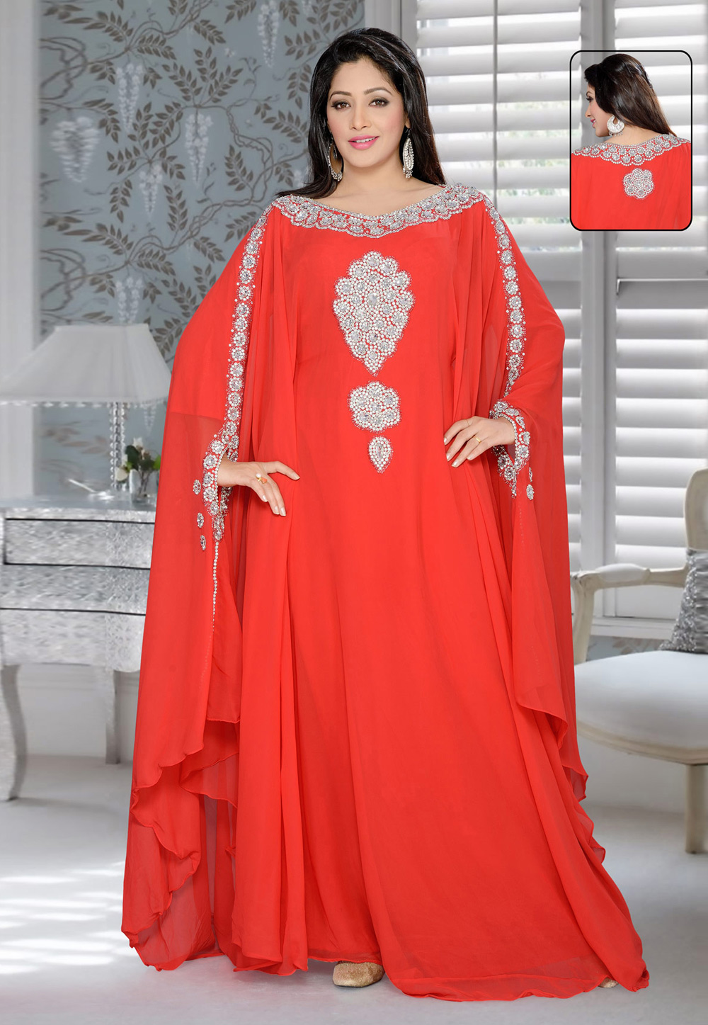 Red Faux Georgette Embroidered Readymade Farasha 194615