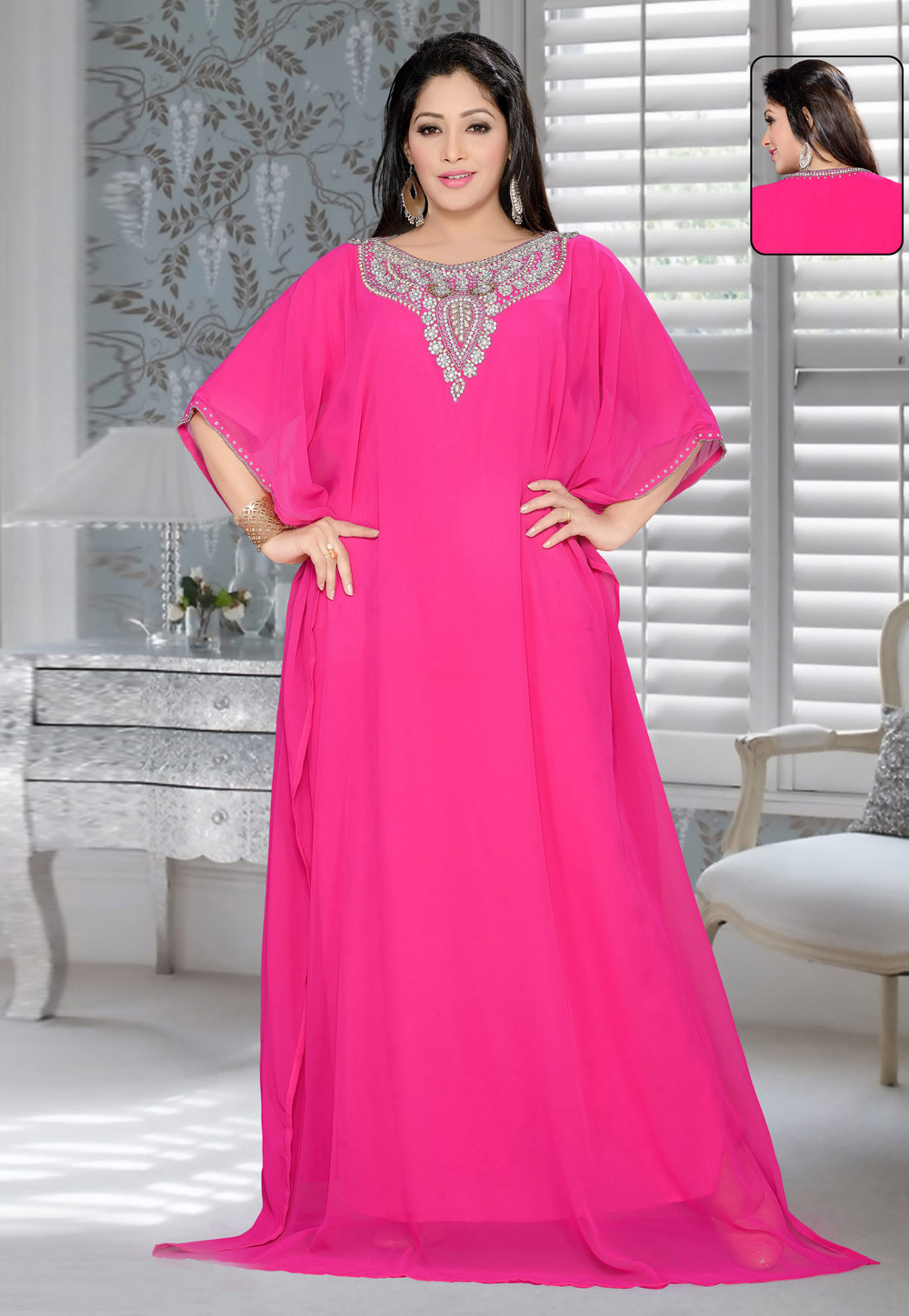 Pink Faux Georgette Embroidered Readymade Farasha 194361