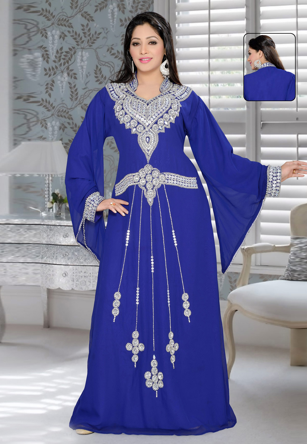 Blue Faux Georgette Embroidered Readymade Kaftan 194362