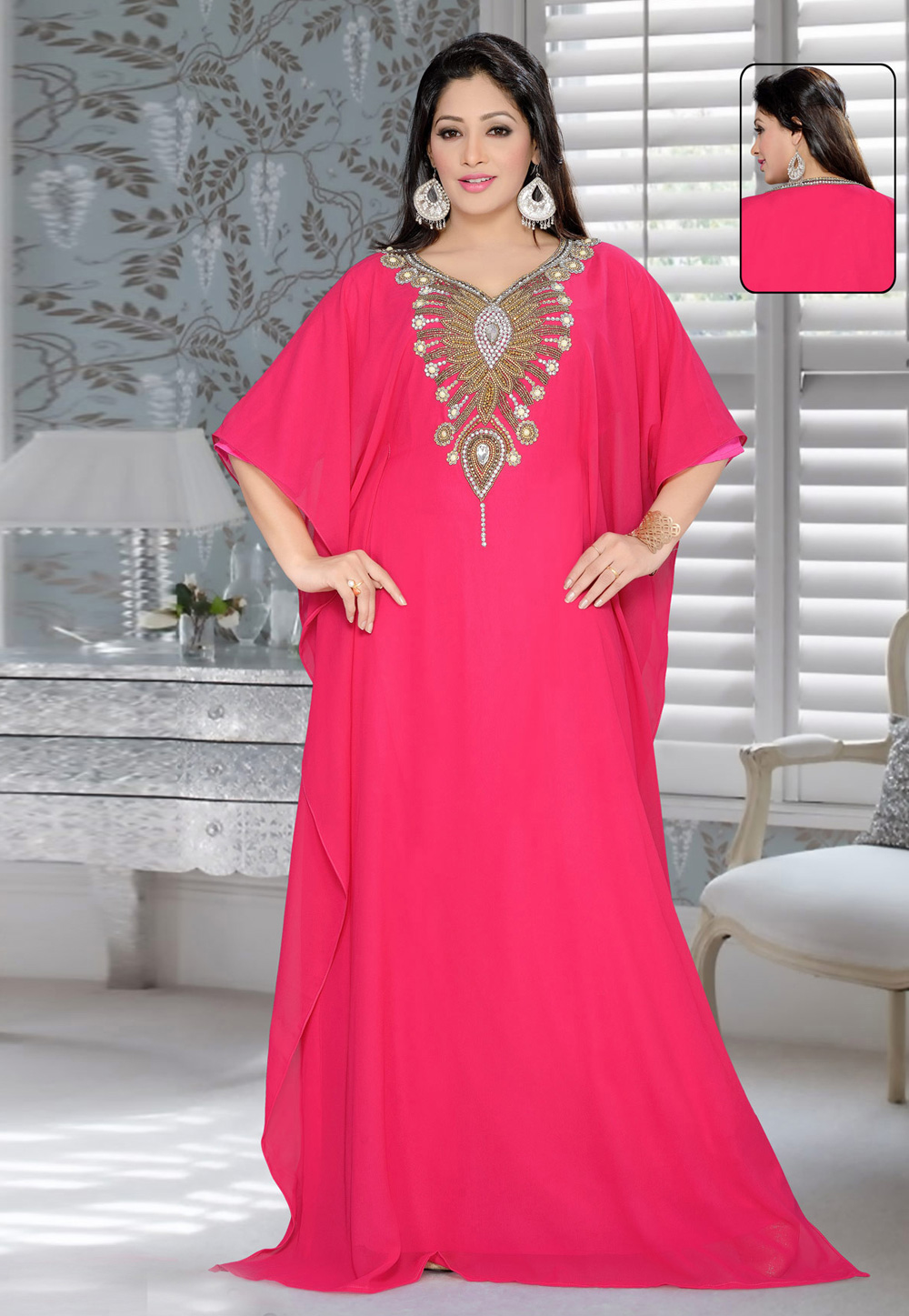 Pink Faux Georgette Embroidered Readymade Farasha 194363