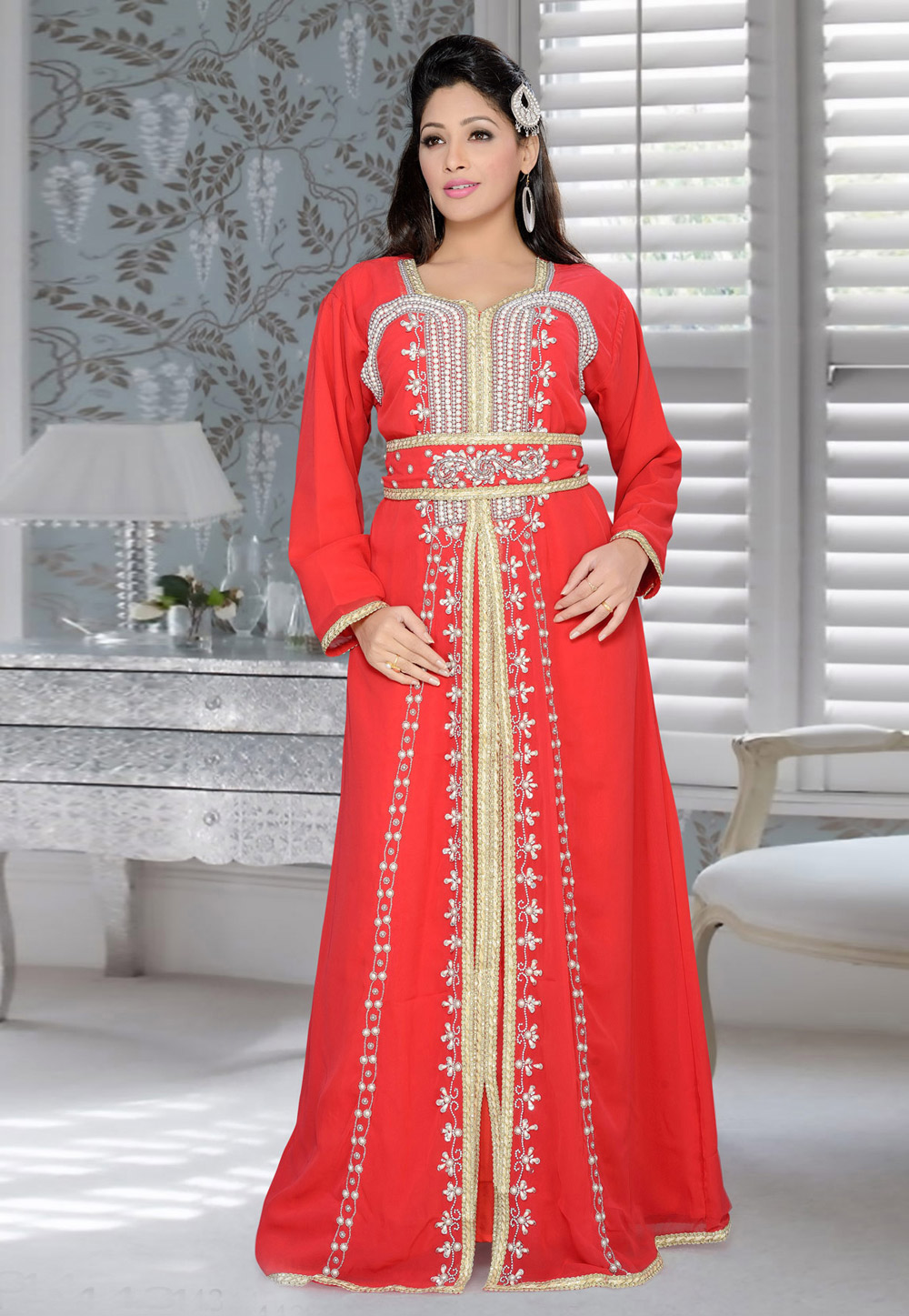 Red Faux Georgette Embroidered Readymade Kaftan 194369