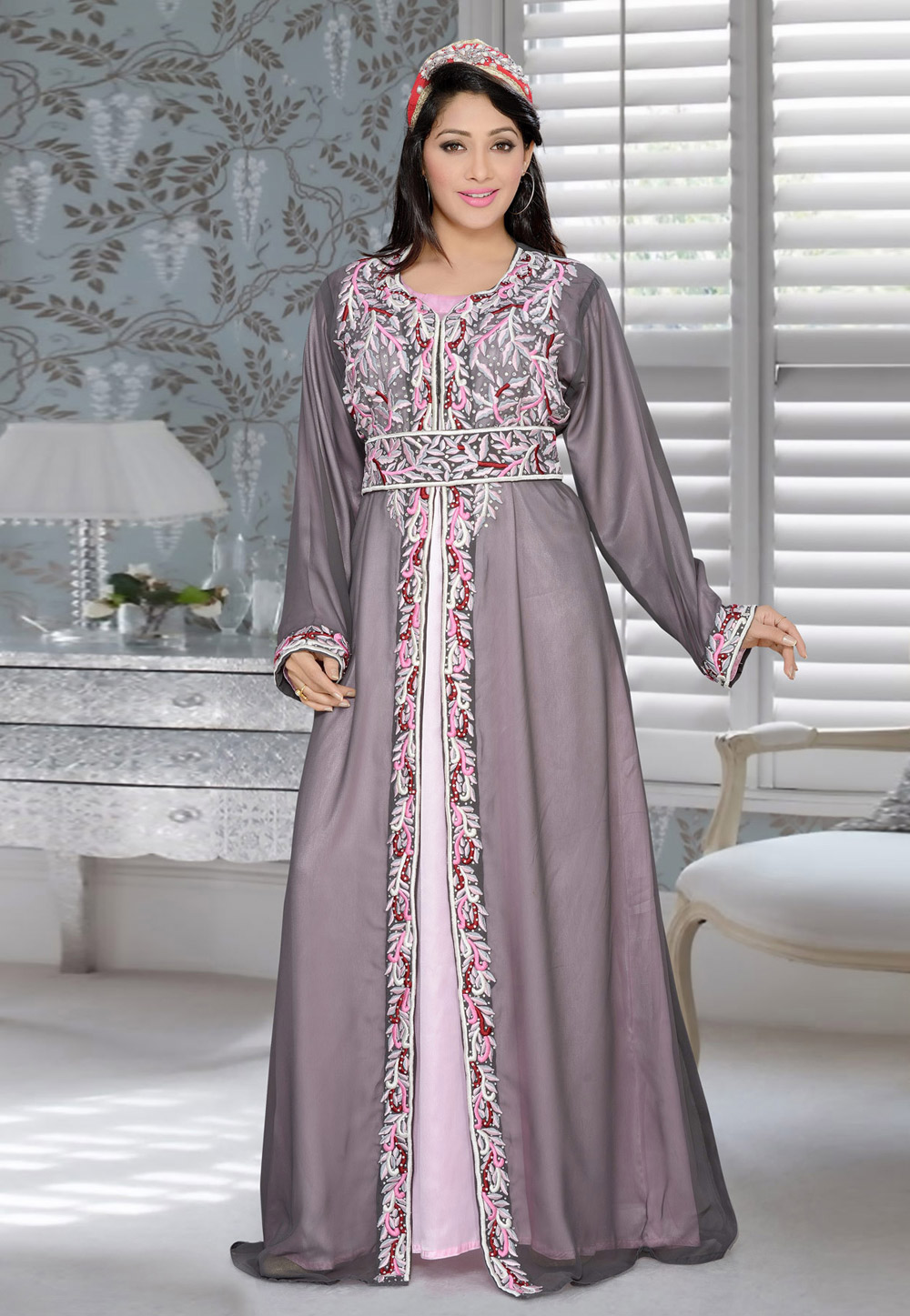 Grey Faux Georgette Embroidered Readymade Kaftan 194370