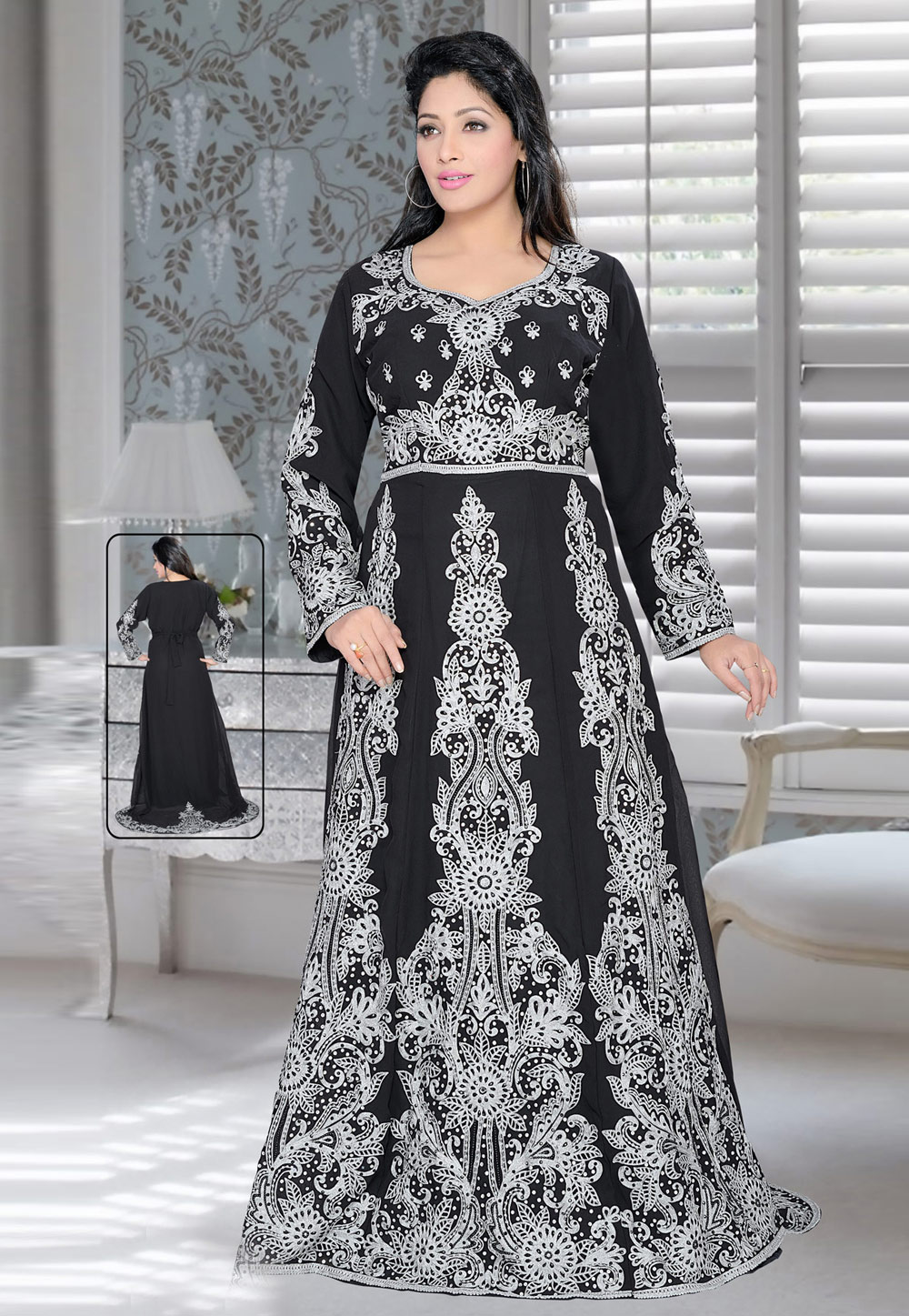 Black Faux Georgette Embroidered Readymade Kaftan 194373