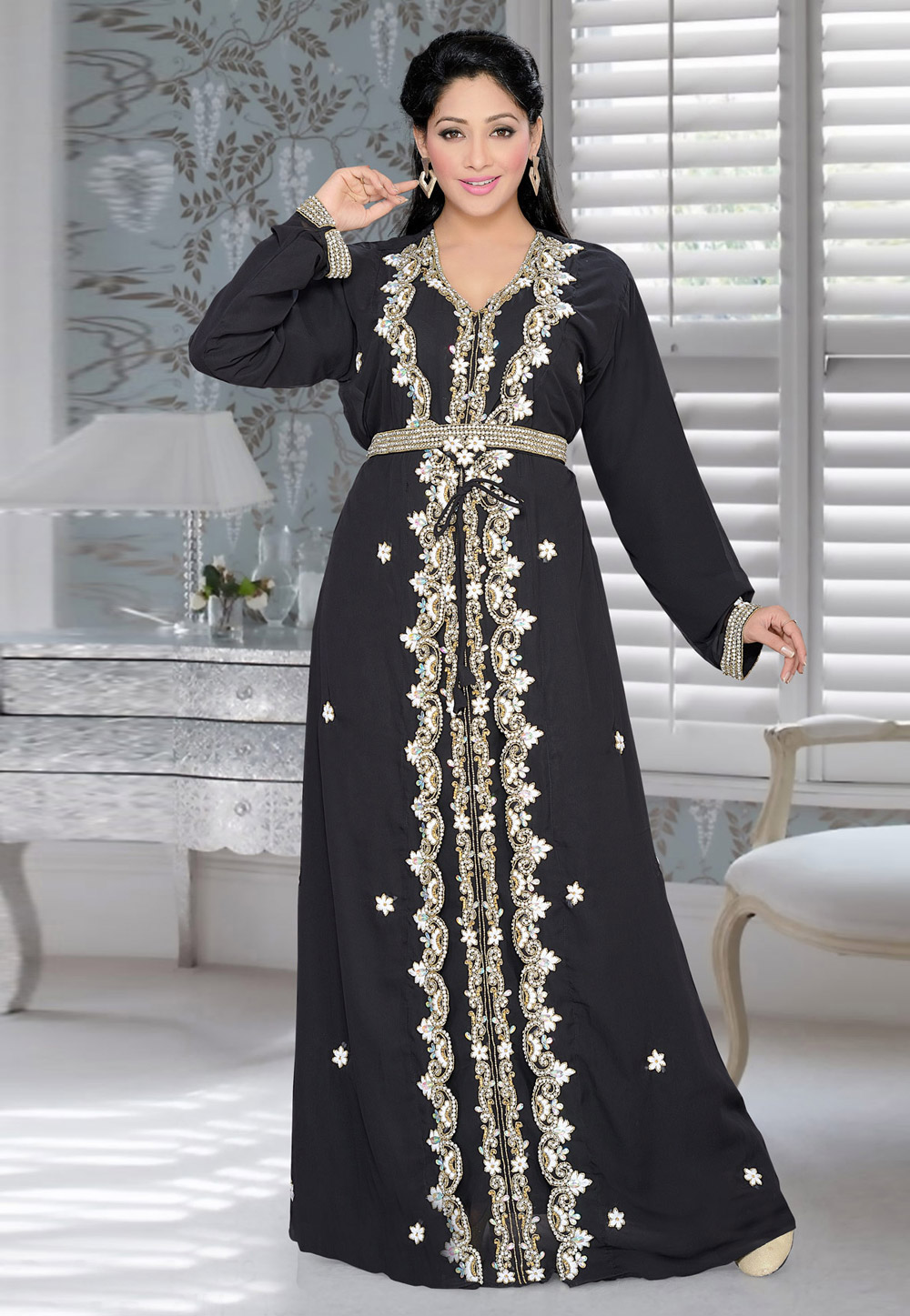 Black Faux Georgette Embroidered Readymade Kaftan 194378