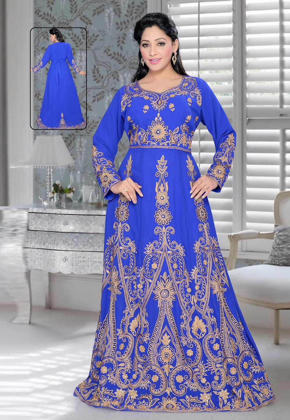 Blue Faux Georgette Embroidered Readymade Kaftan 194380
