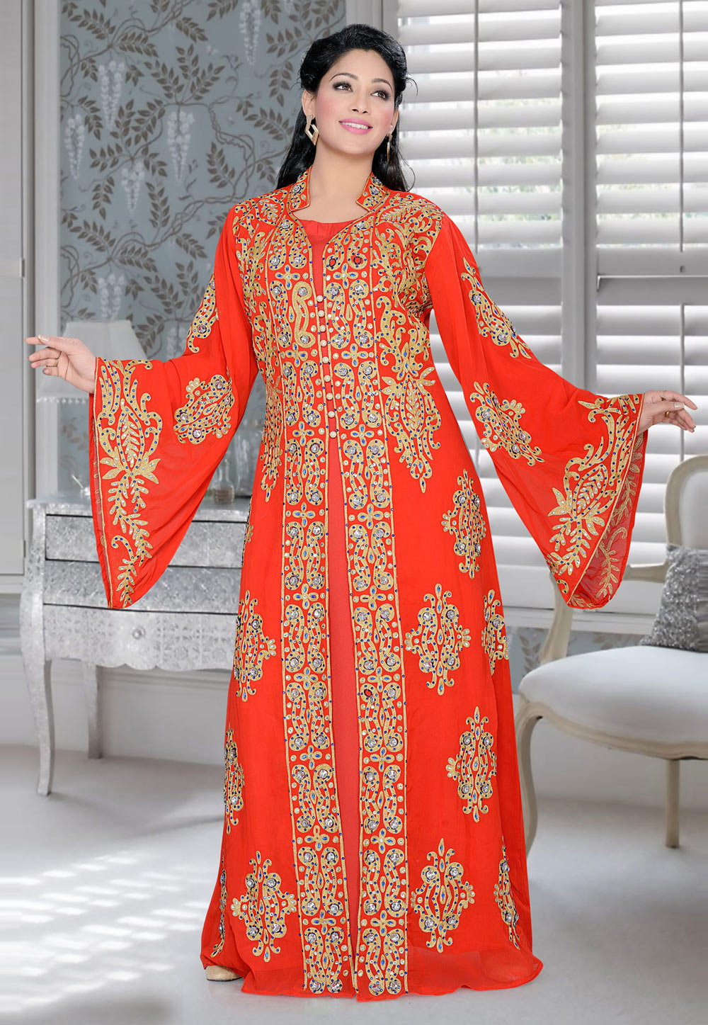 Red Faux Georgette Embroidered Readymade Kaftan 194381