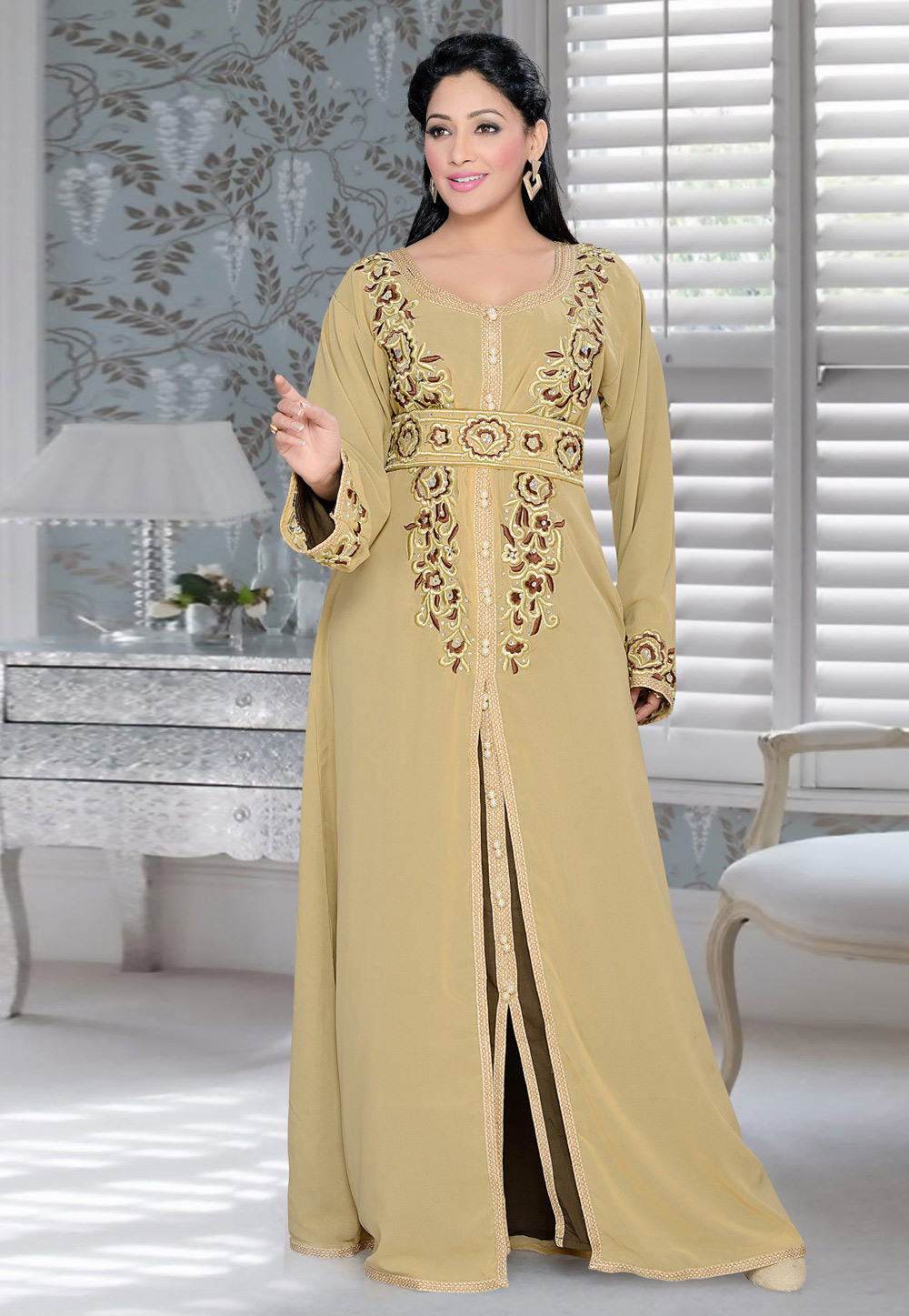 Beige Faux Georgette Embroidered Readymade Kaftan 194382