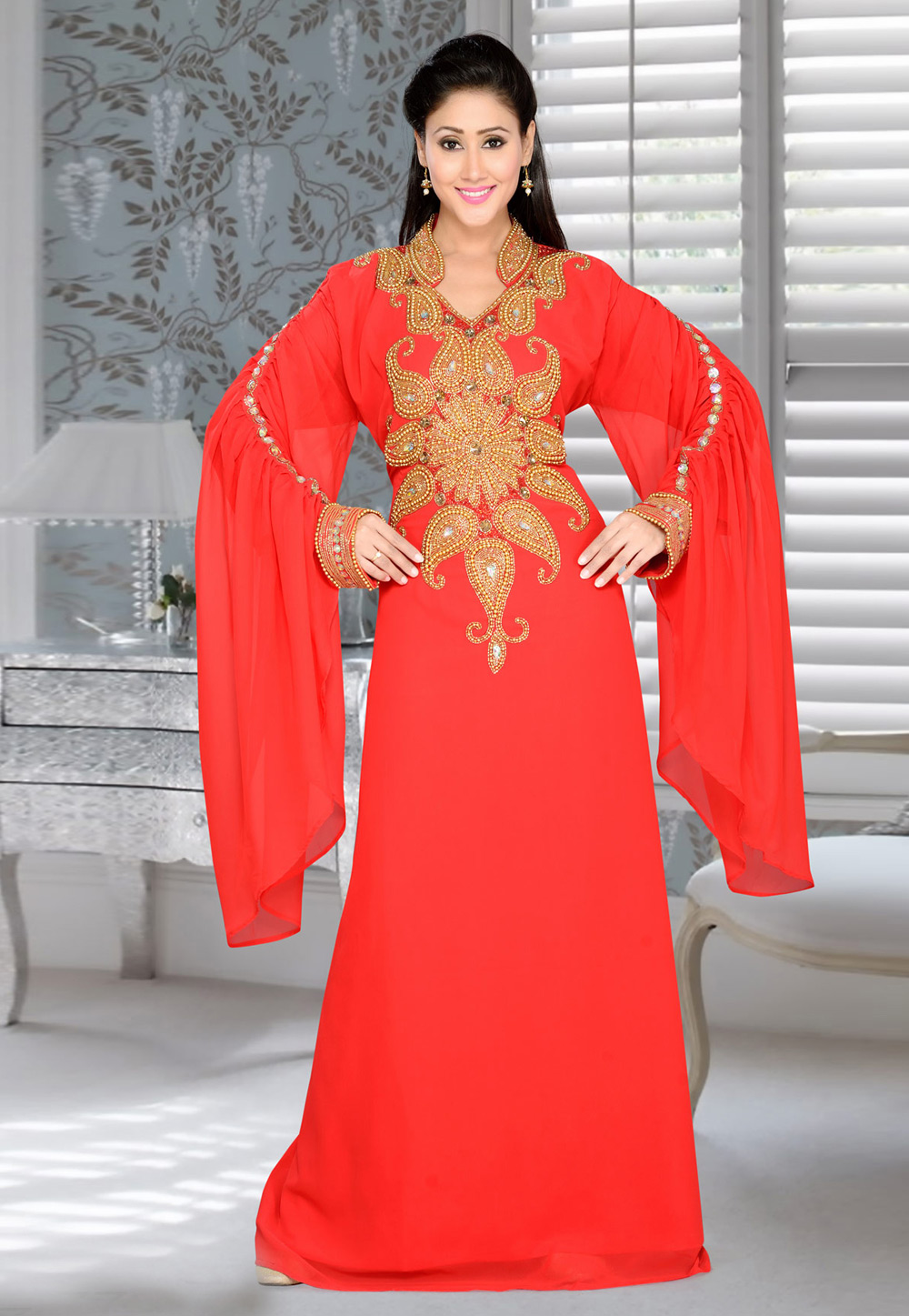 Red Faux Georgette Embroidered Readymade Kaftan 194385