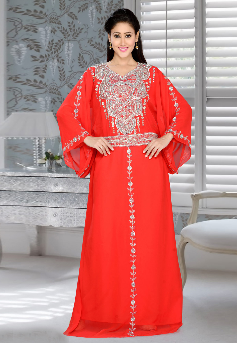 Red Faux Georgette Embroidered Readymade Farasha 194387