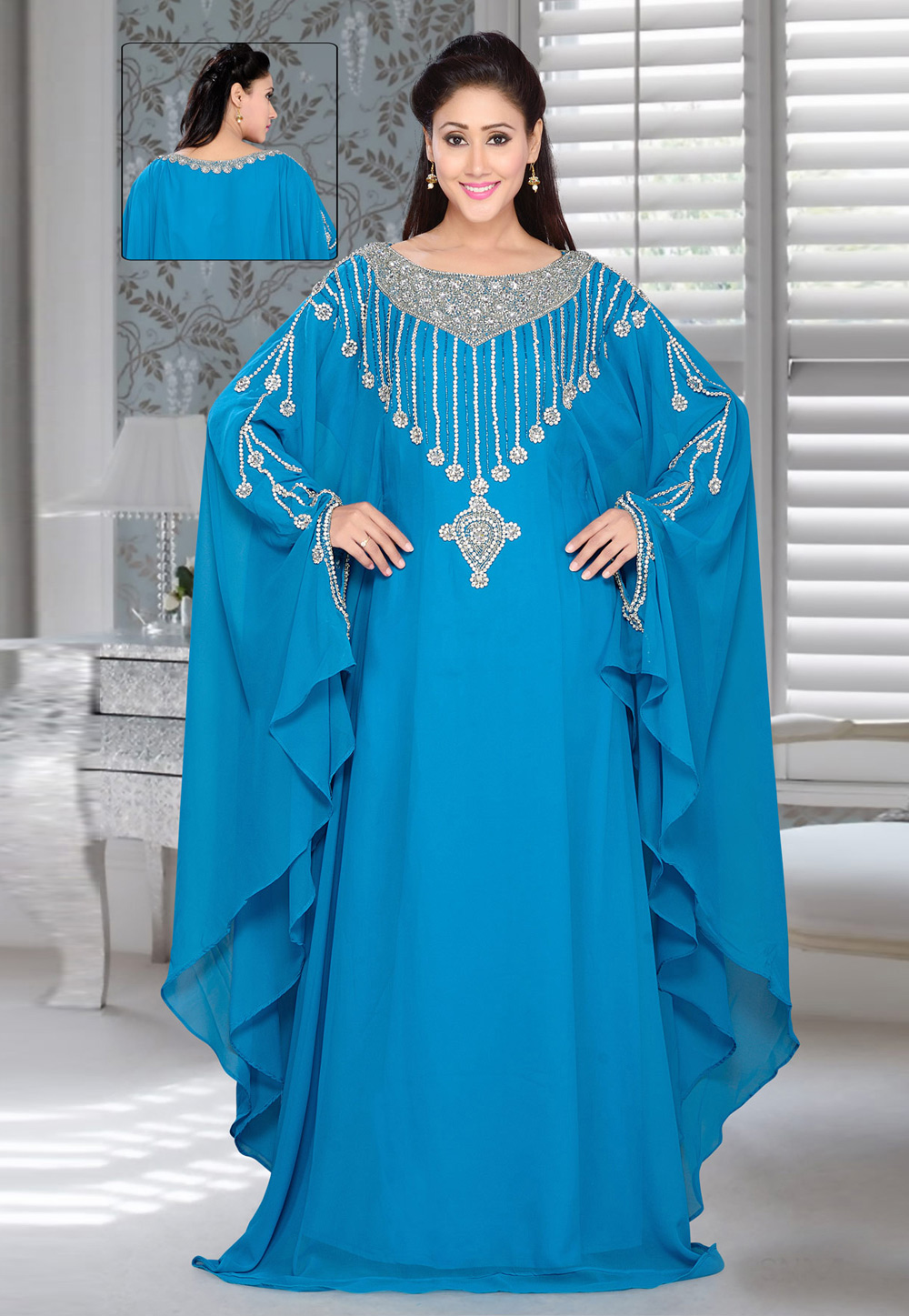 Turquoise Blue Faux Georgette Embroidered Readymade Farasha 194389