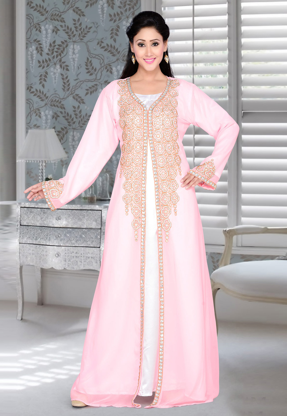 Light Pink Faux Georgette Embroidered Readymade Kaftan 194392