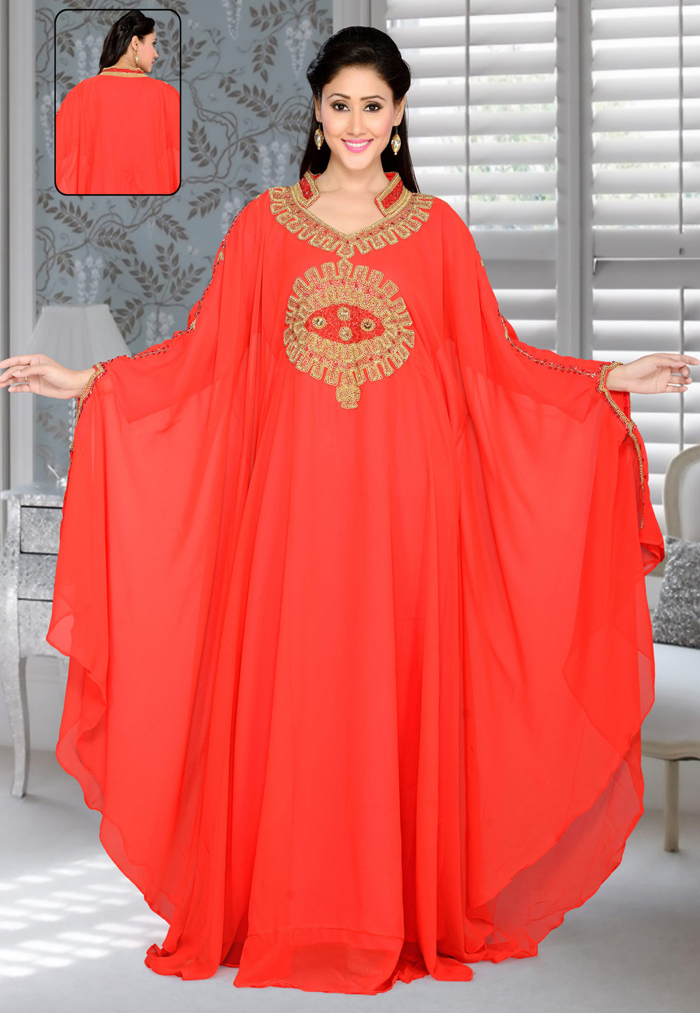 Red Faux Georgette Embroidered Readymade Farasha 194393