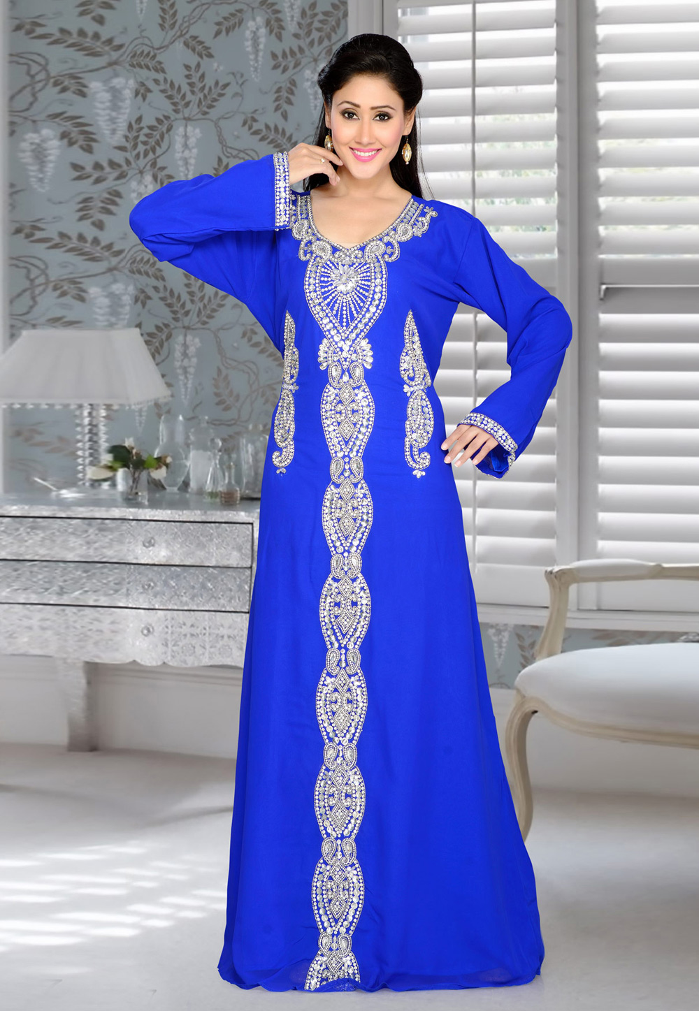 Blue Faux Georgette Embroidered Readymade Kaftan 194395