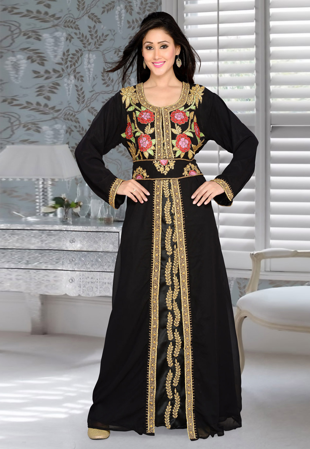 Black Faux Georgette Embroidered Readymade Kaftan 194398