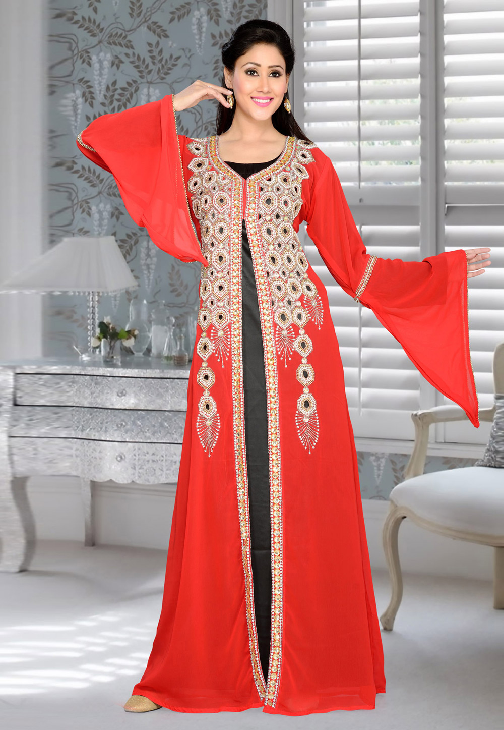 Red Faux Georgette Embroidered Readymade Kaftan 194399