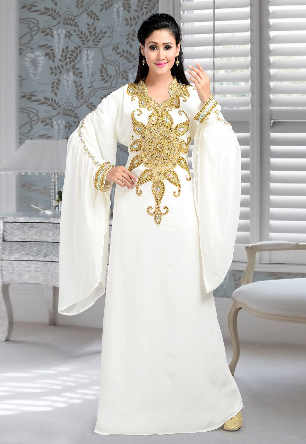 White Faux Georgette Embroidered Readymade Kaftan 194401
