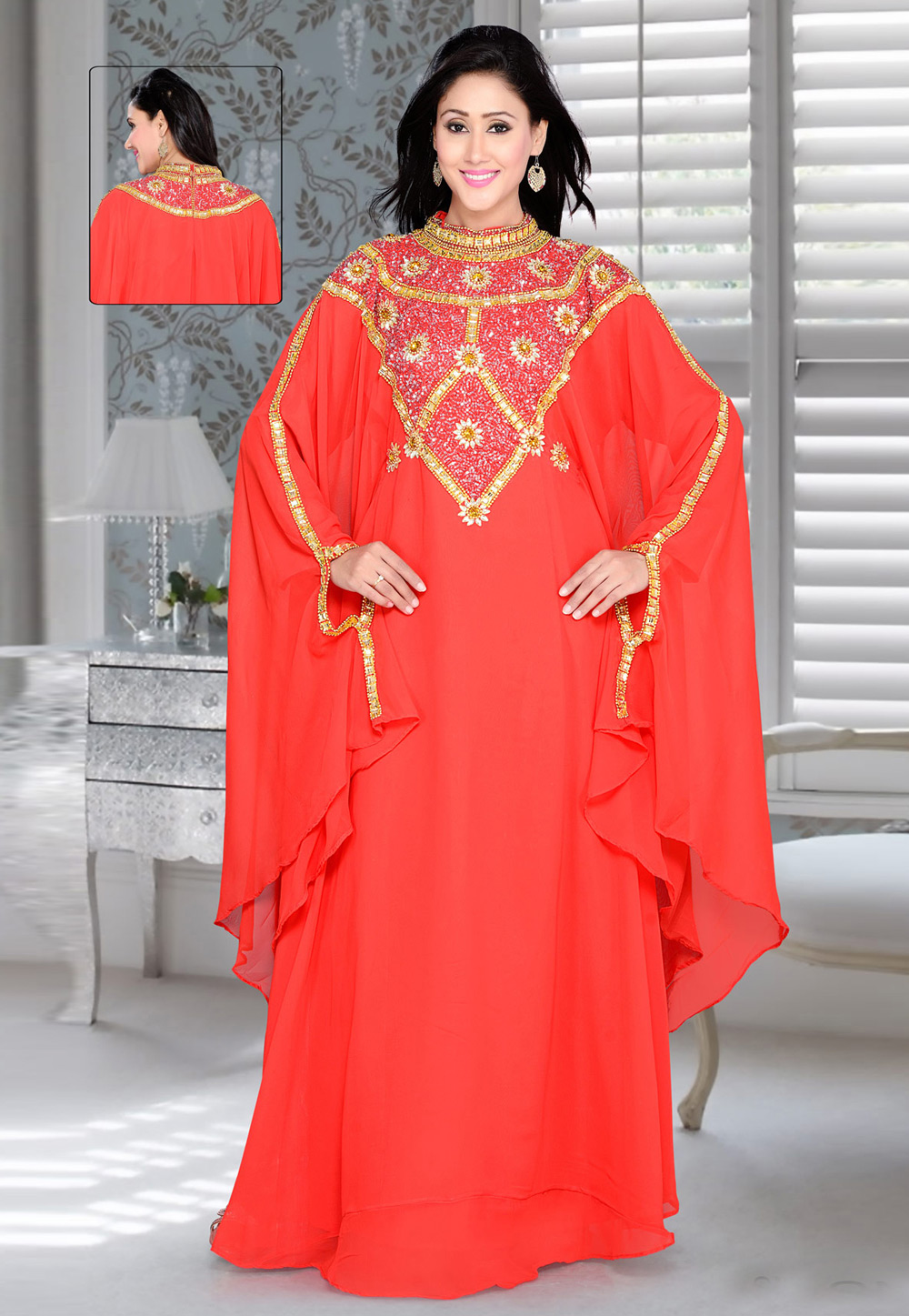 Red Faux Georgette Embroidered Readymade Farasha 194405