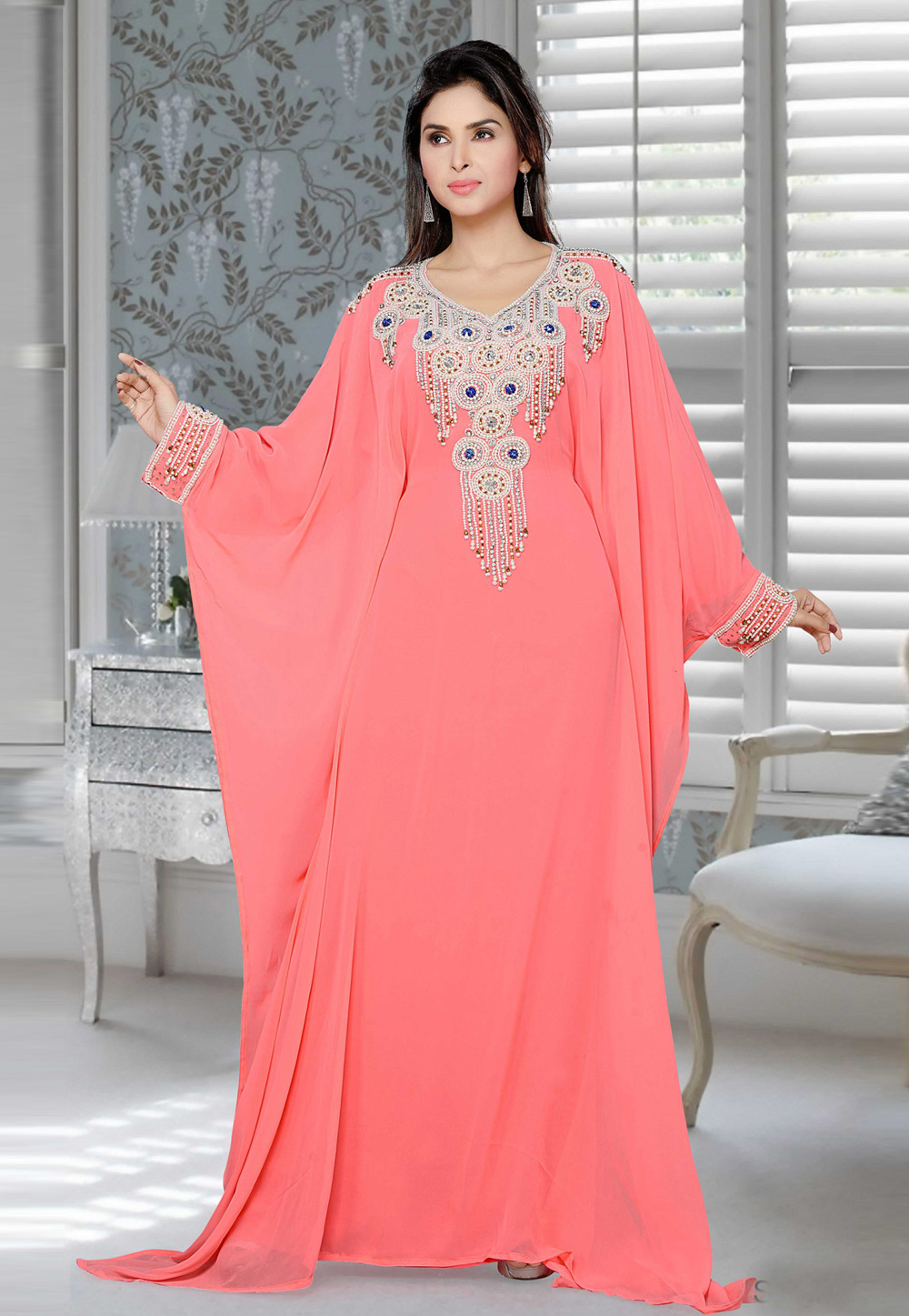 Pink Faux Georgette Embroidered Readymade Farasha 194406