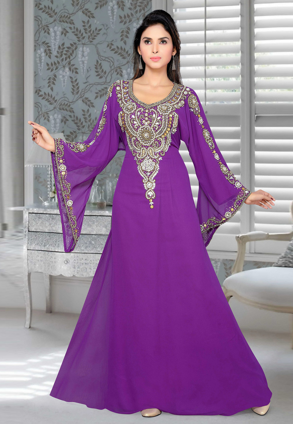 Violet Faux Georgette Embroidered Readymade Kaftan 194409