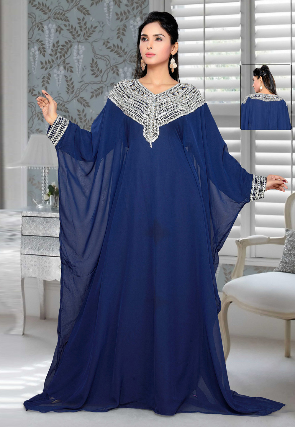 Navy Blue Faux Georgette Embroidered Readymade Farasha 194414