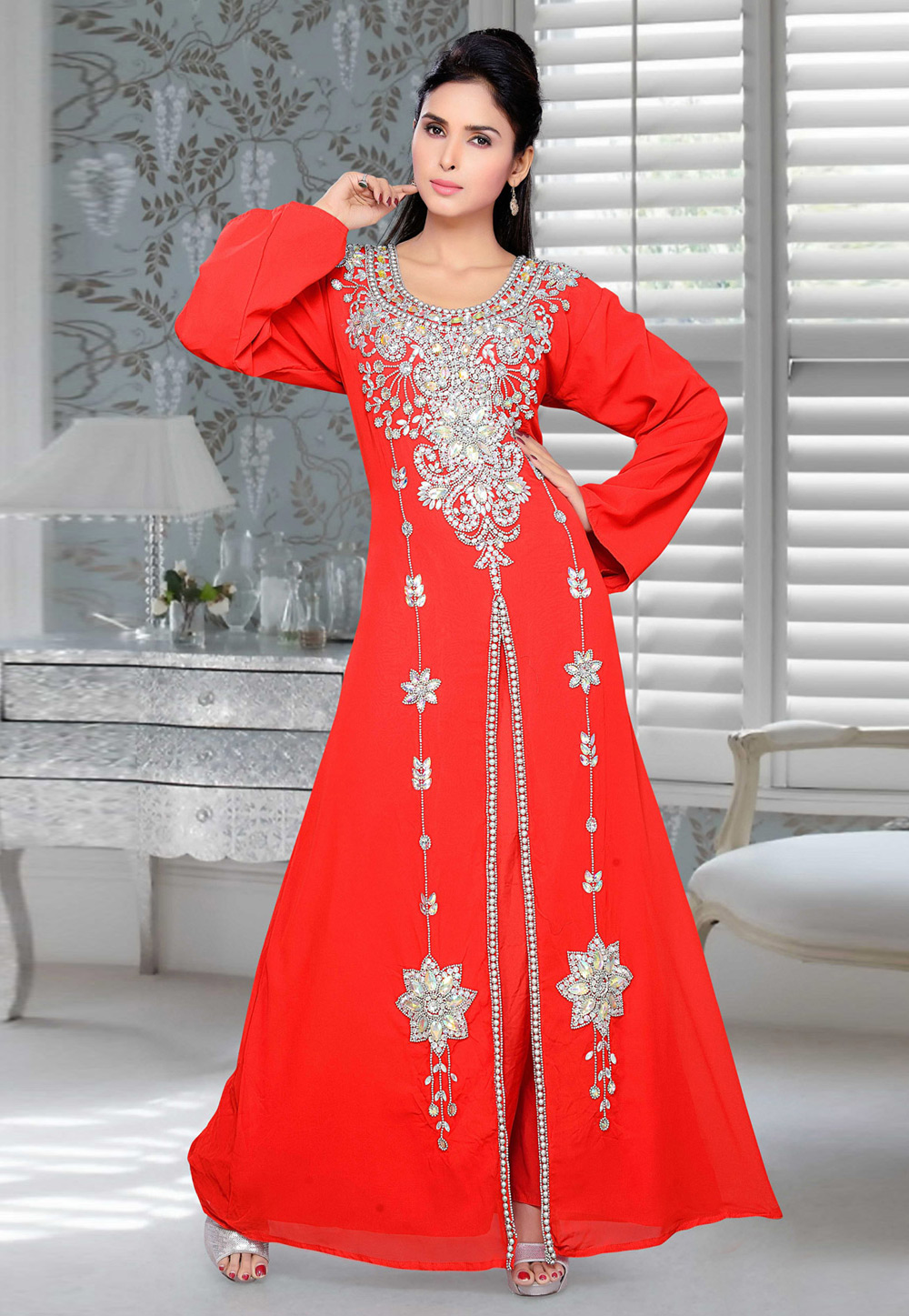 Red Faux Georgette Embroidered Readymade Kaftan 194416