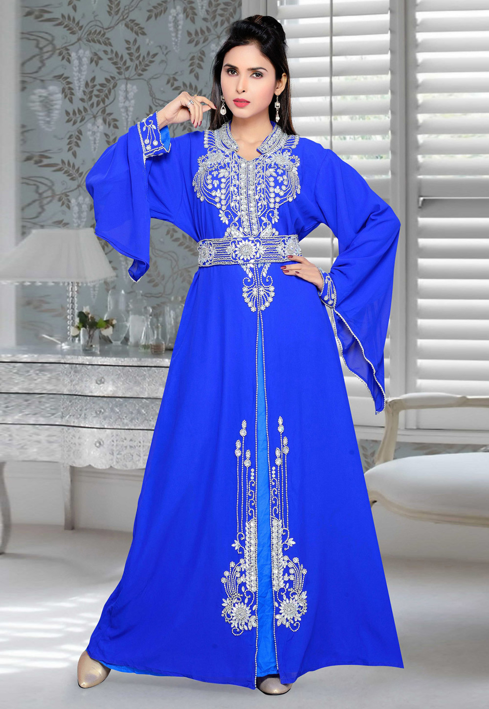 Blue Faux Georgette Embroidered Readymade Kaftan 194419