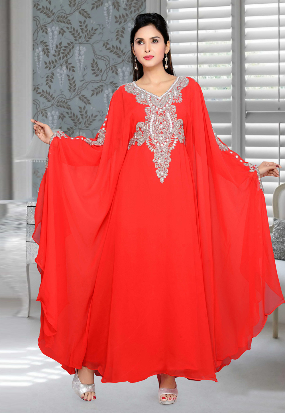 Red Faux Georgette Embroidered Readymade Farasha 194680
