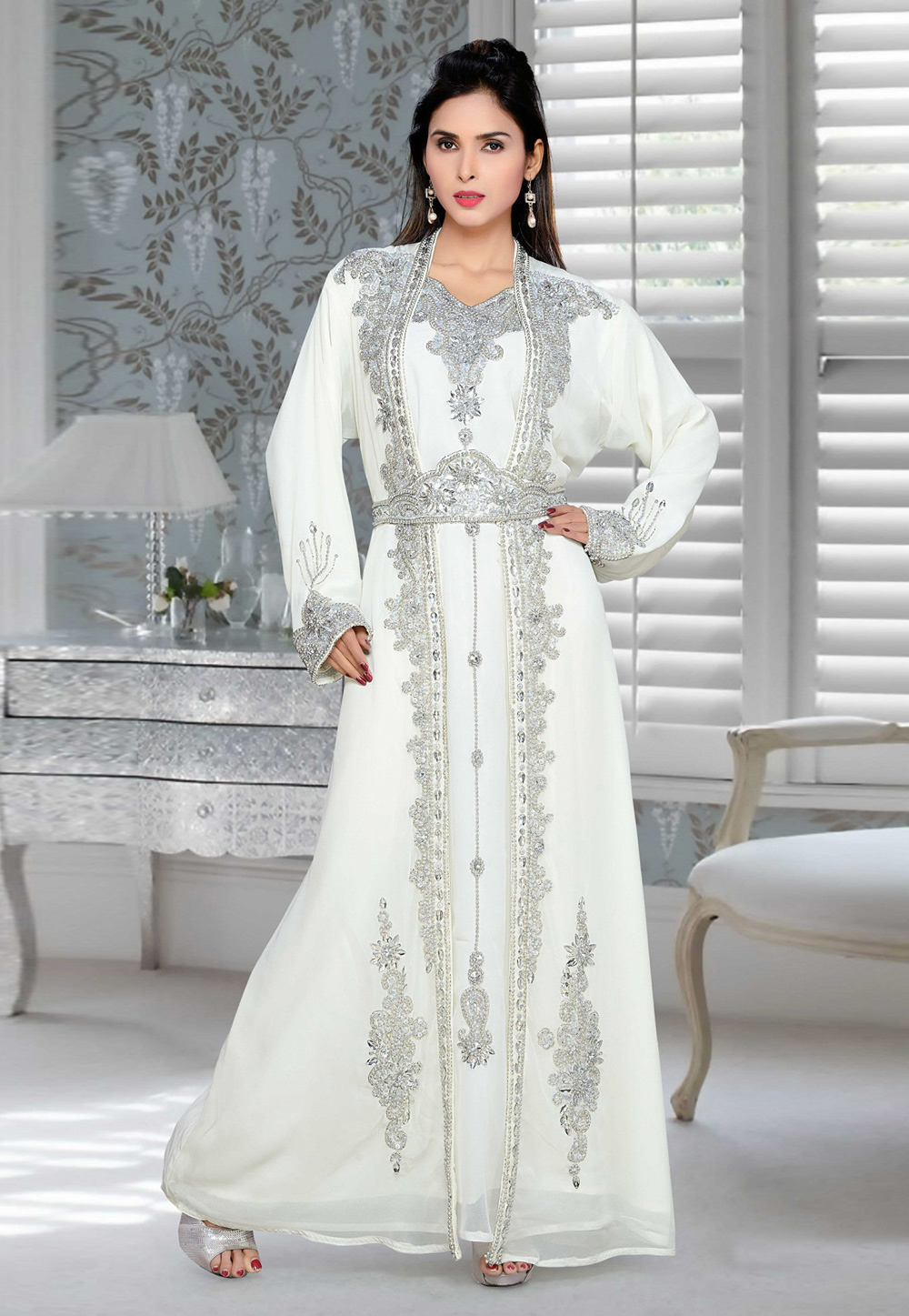 White Faux Georgette Embroidered Readymade Kaftan 194681