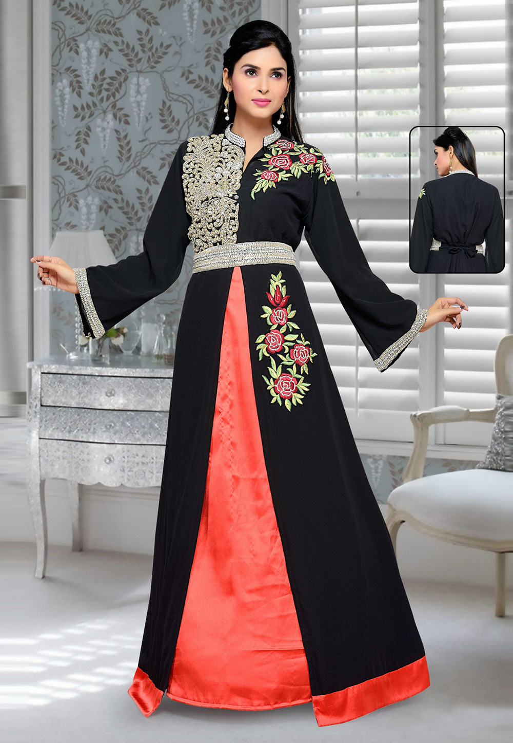 Black Faux Georgette Embroidered Readymade Kaftan 194682