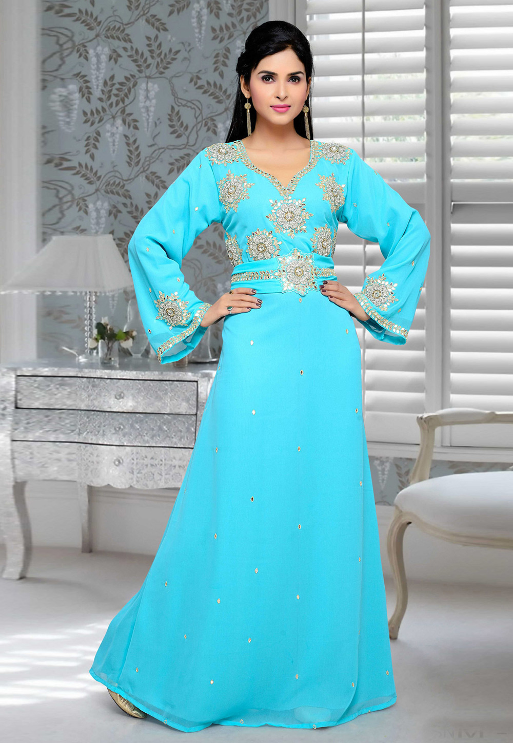 Aqua Faux Georgette Embroidered Readymade Kaftan 194684