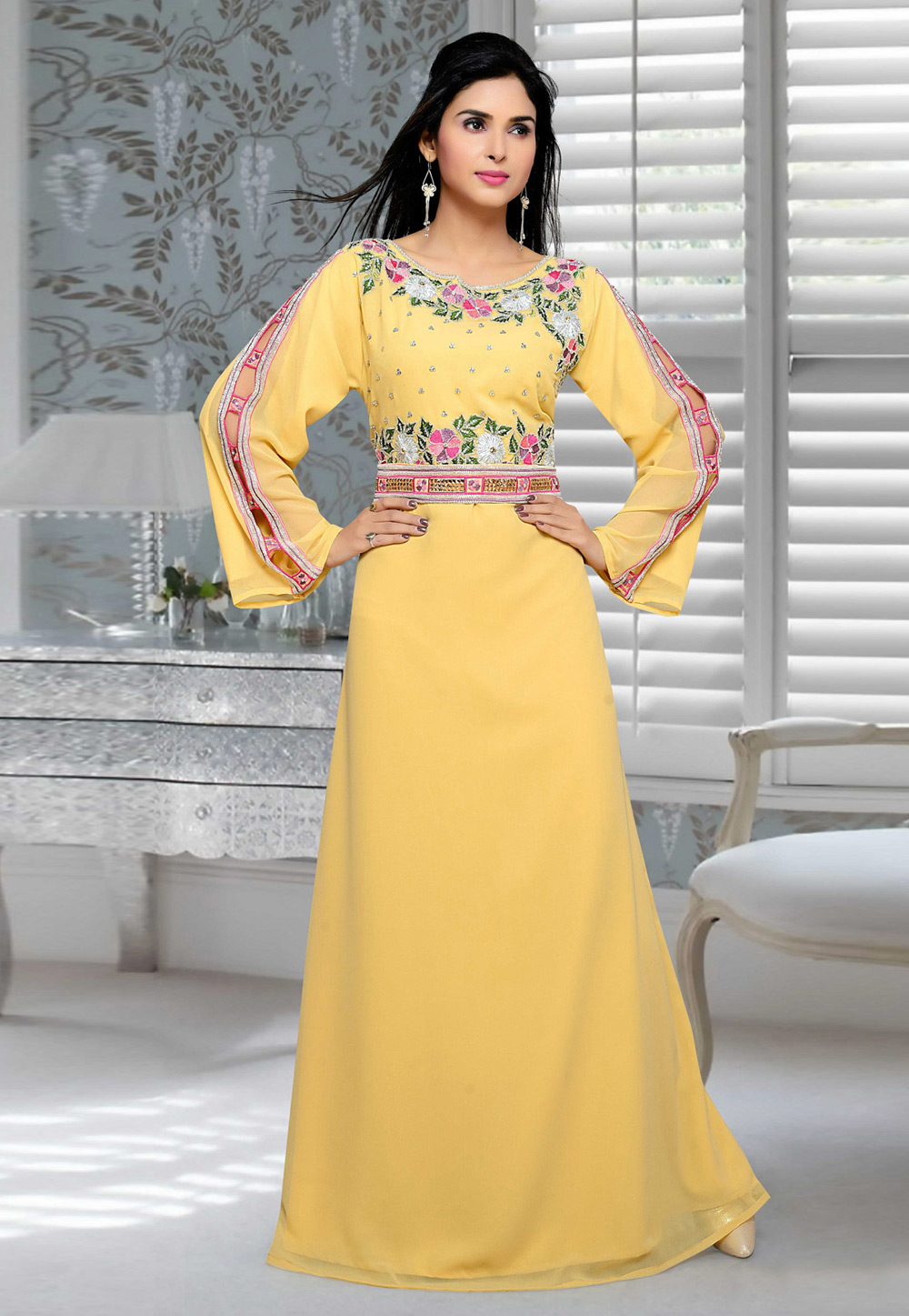 Yellow Faux Georgette Embroidered Readymade Kaftan 194690