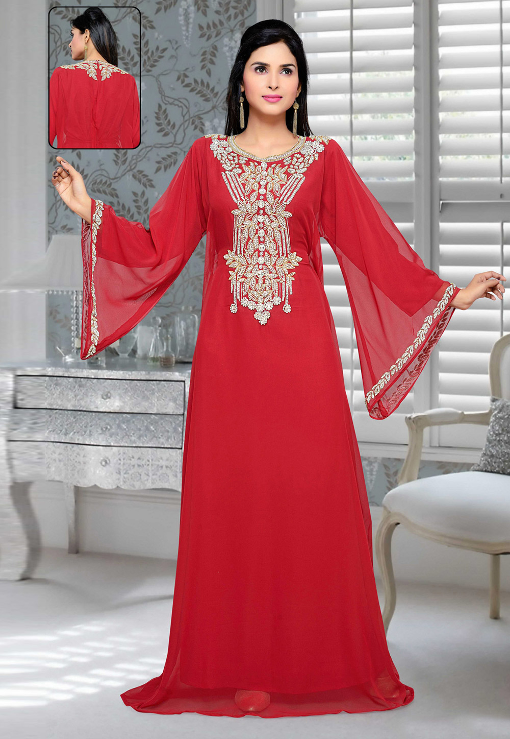 Red Faux Georgette Embroidered Readymade Kaftan 194691