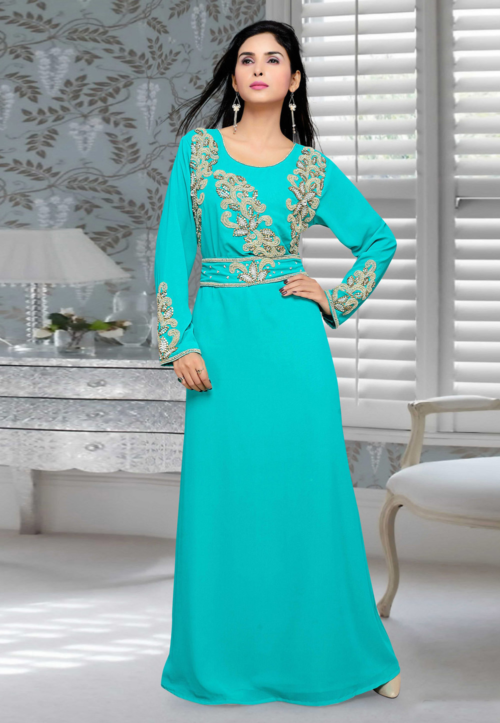 Turquoise Blue Faux Georgette Embroidered Readymade Kaftan 194695