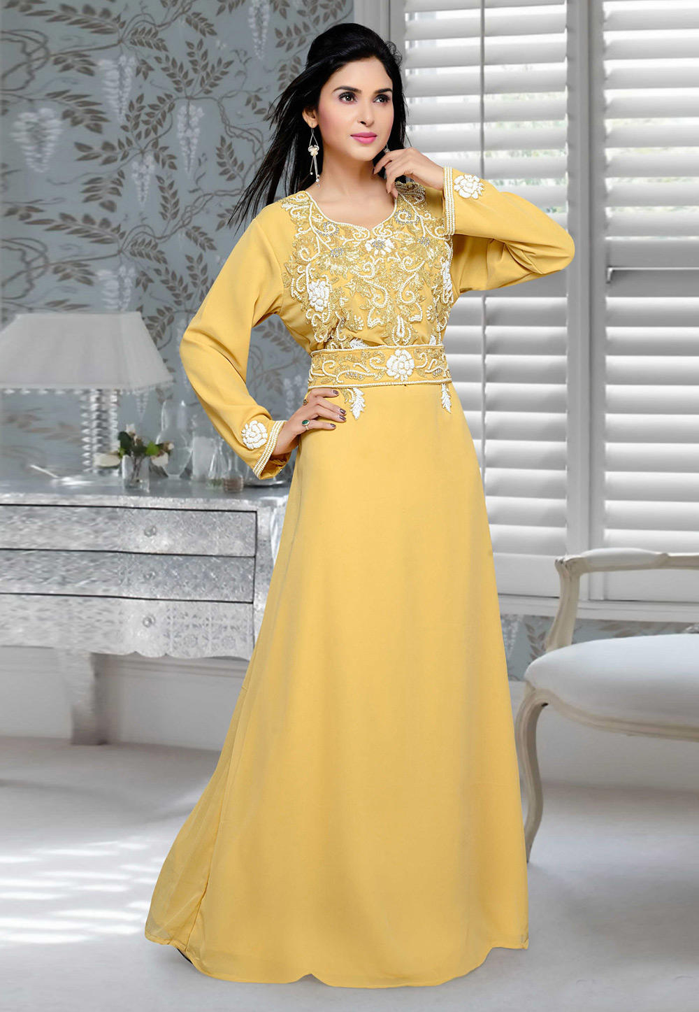 Yellow Faux Georgette Embroidered Readymade Kaftan 194700