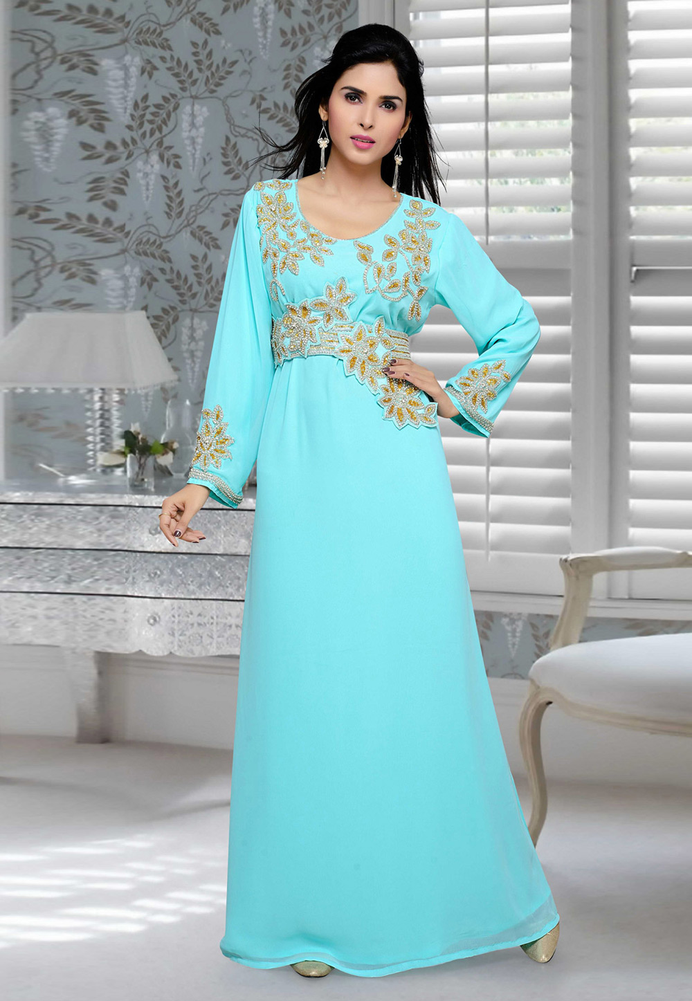 Aqua Faux Georgette Embroidered Readymade Kaftan 194702