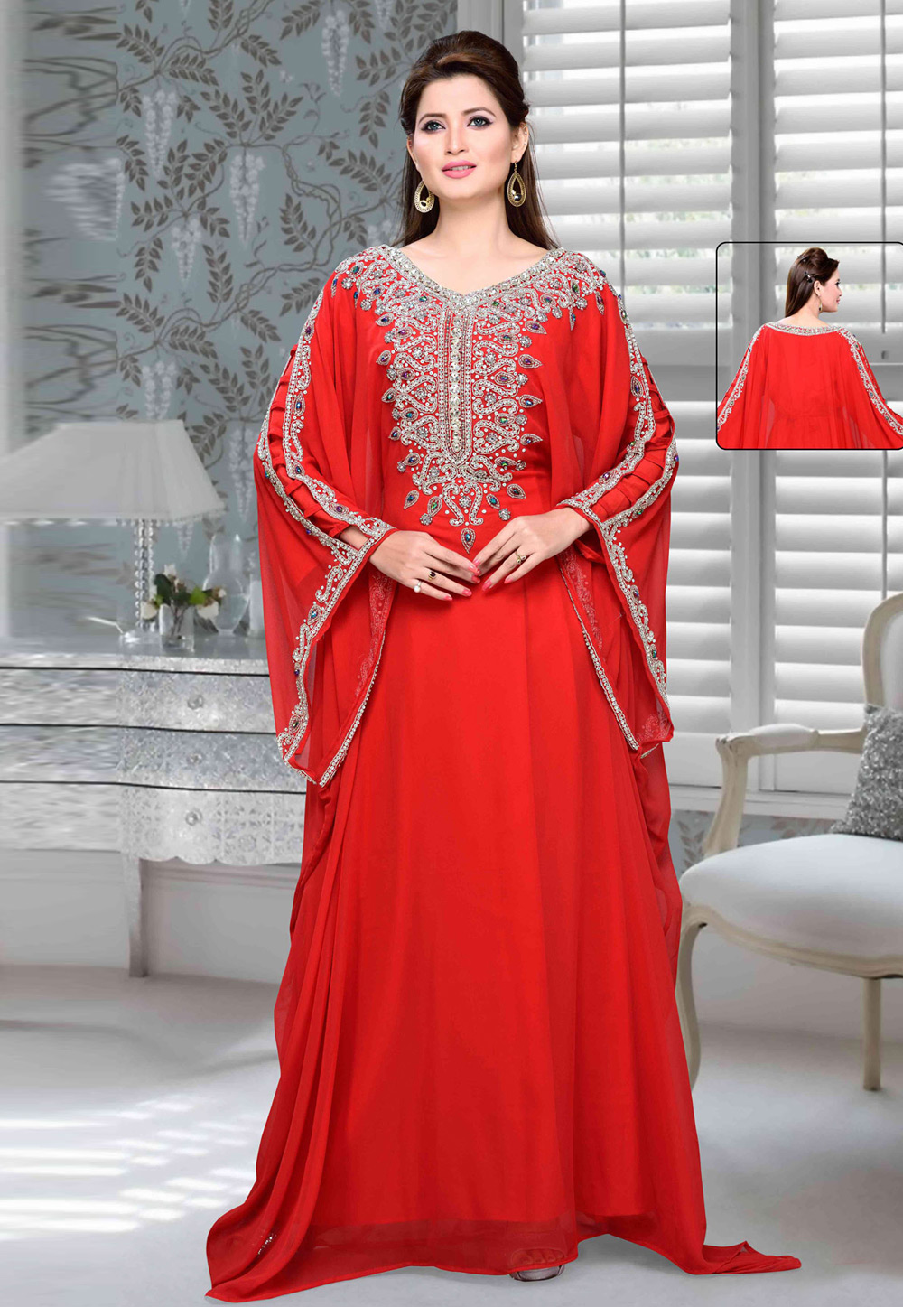 Red Faux Georgette Embroidered Readymade Farasha 194705
