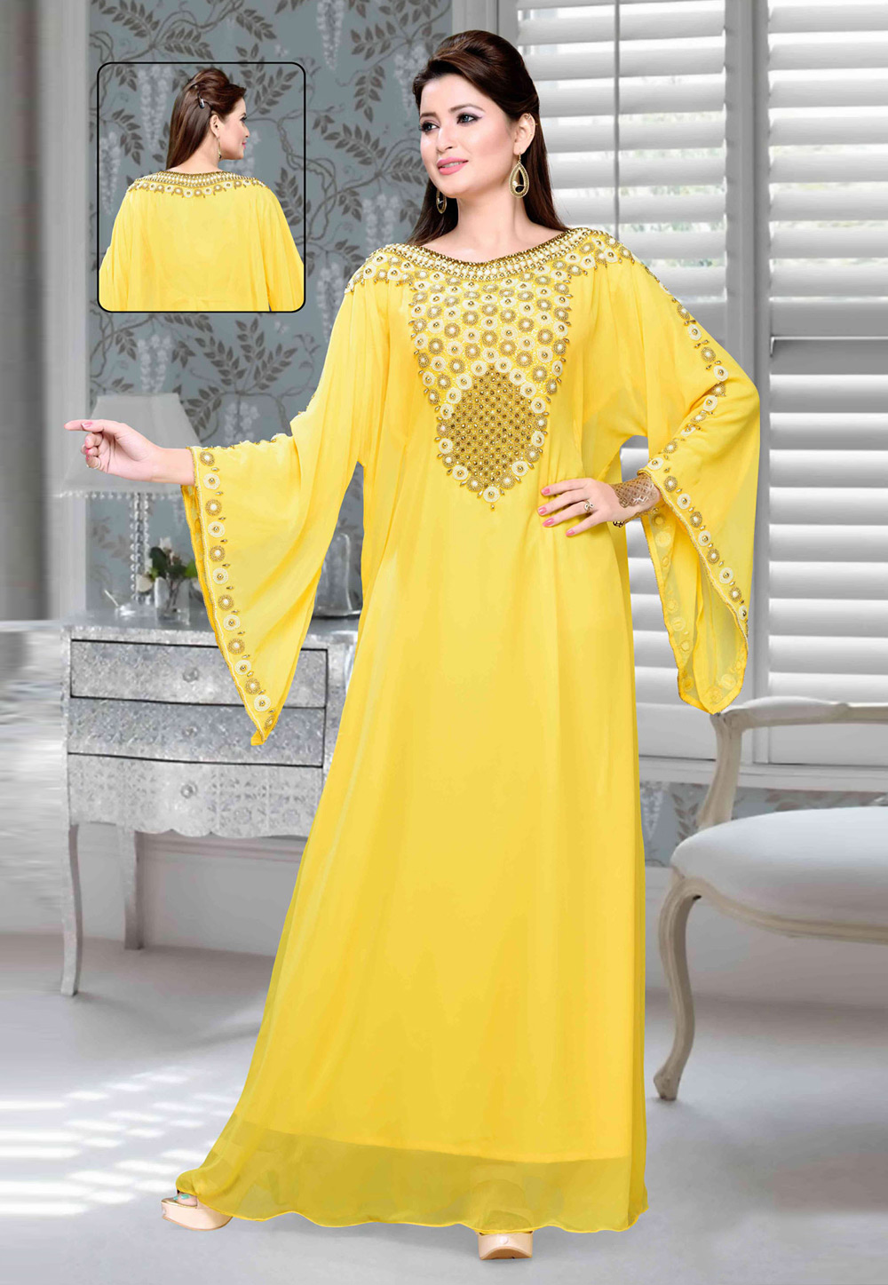 Yellow Faux Georgette Embroidered Readymade Kaftan 194707