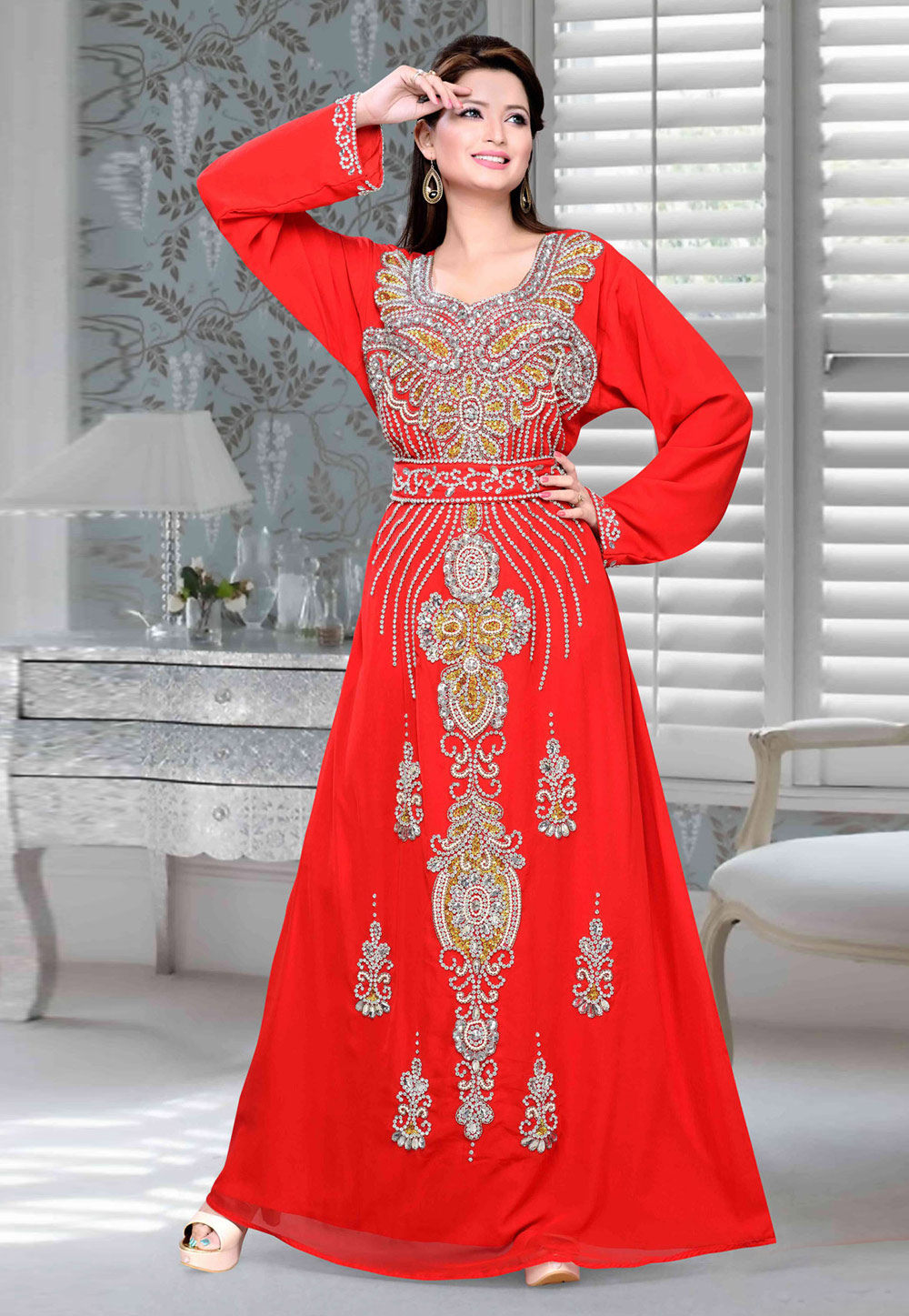 Red Faux Georgette Embroidered Readymade Kaftan 194708