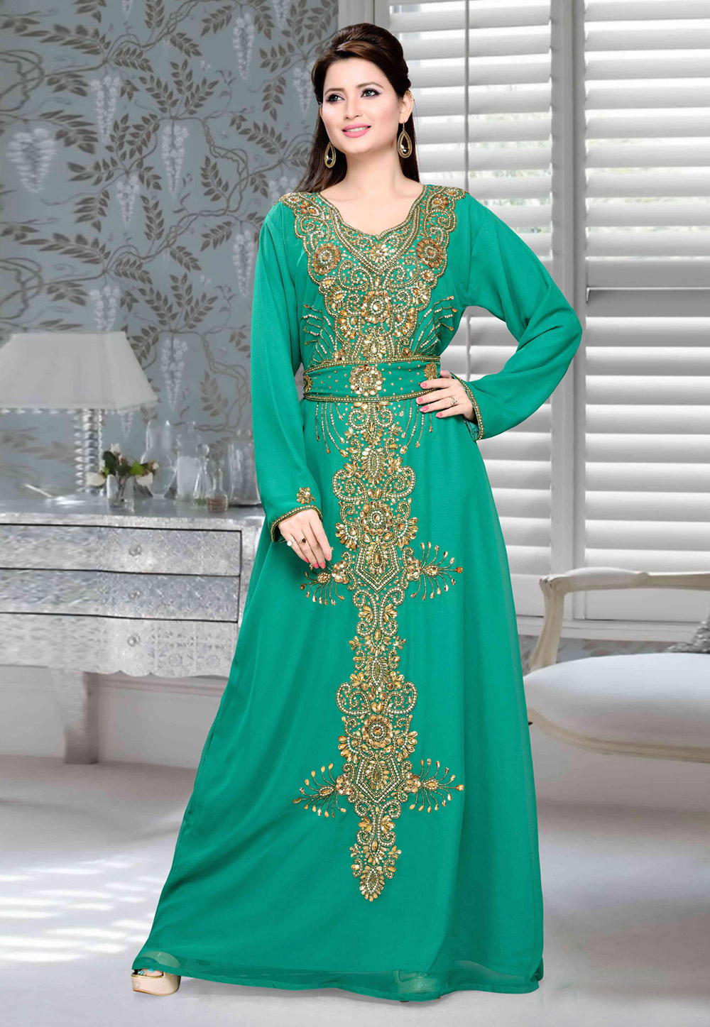 Green Faux Georgette Embroidered Readymade Kaftan 194709