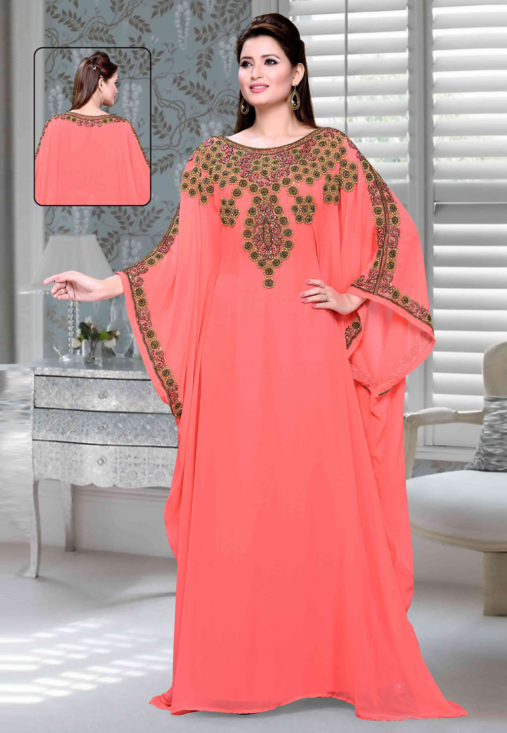 Pink Faux Georgette Embroidered Readymade Farasha 194712