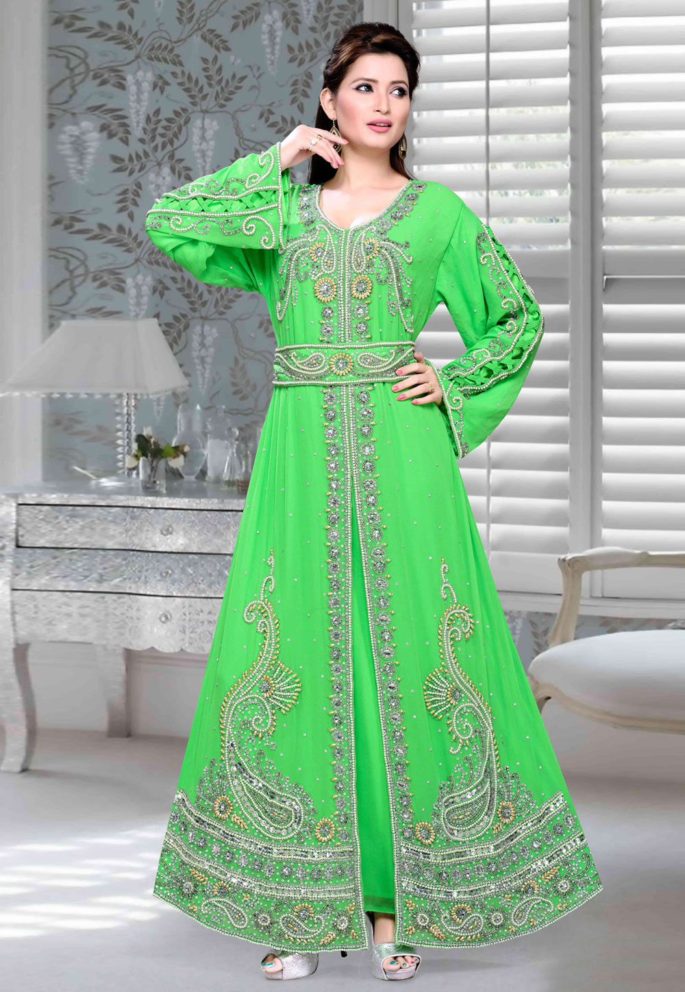 Green Faux Georgette Embroidered Readymade Kaftan 194713