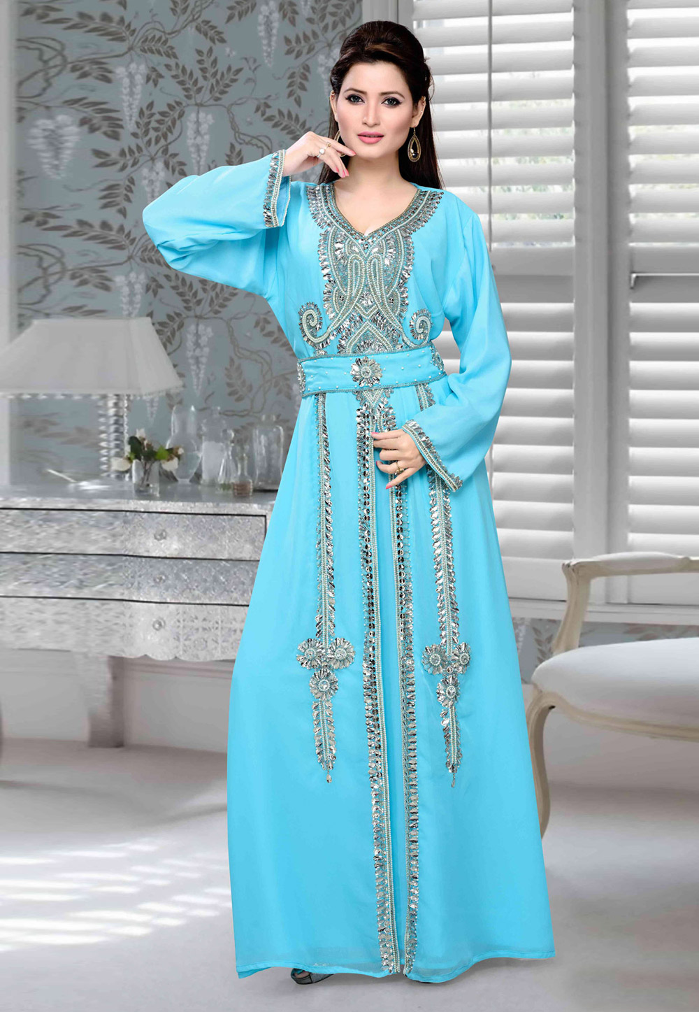 Sky Blue Faux Georgette Embroidered Readymade Kaftan 194714