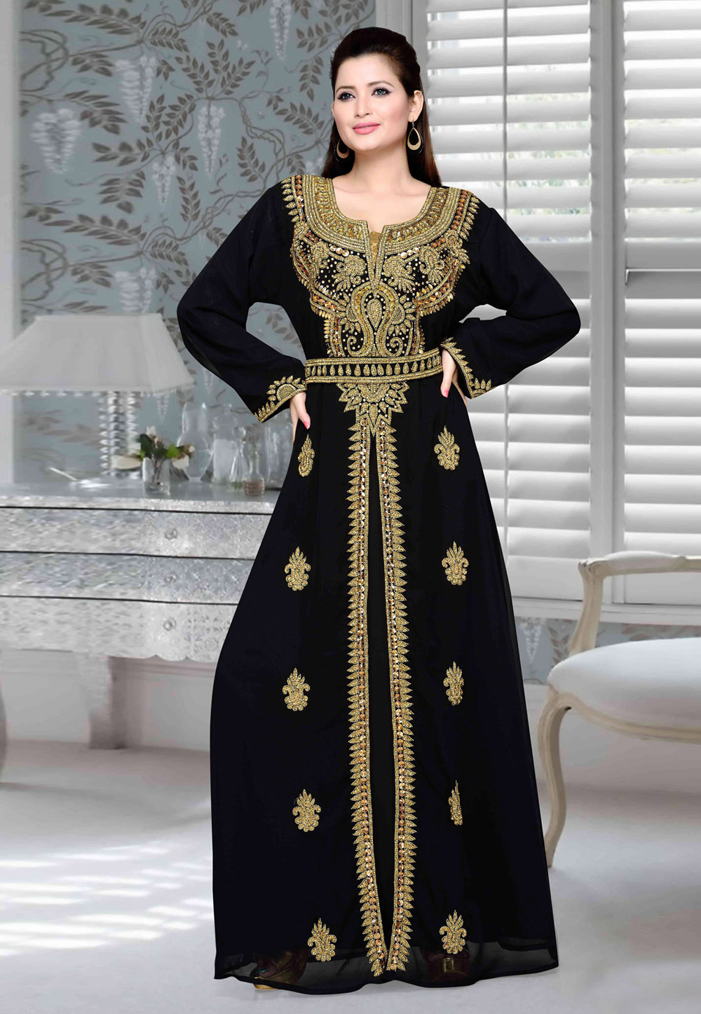 Black Faux Georgette Embroidered Readymade Kaftan 194715